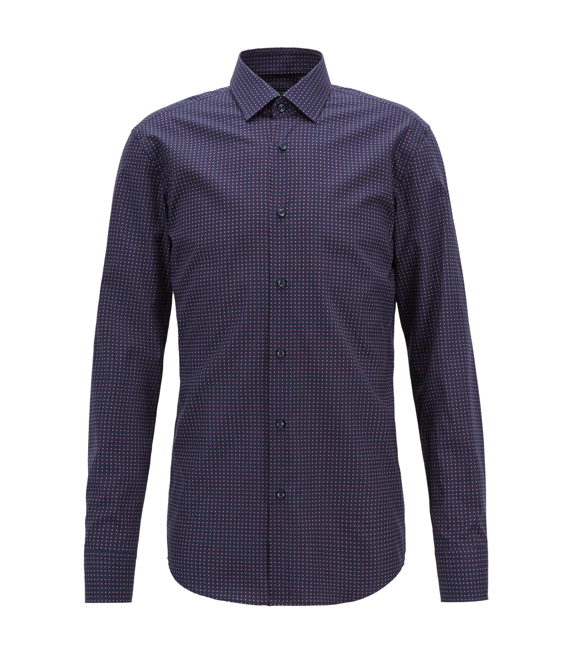 Slim-fit overhemd van Italiaanse katoen met geometrische print, Donkerblauw