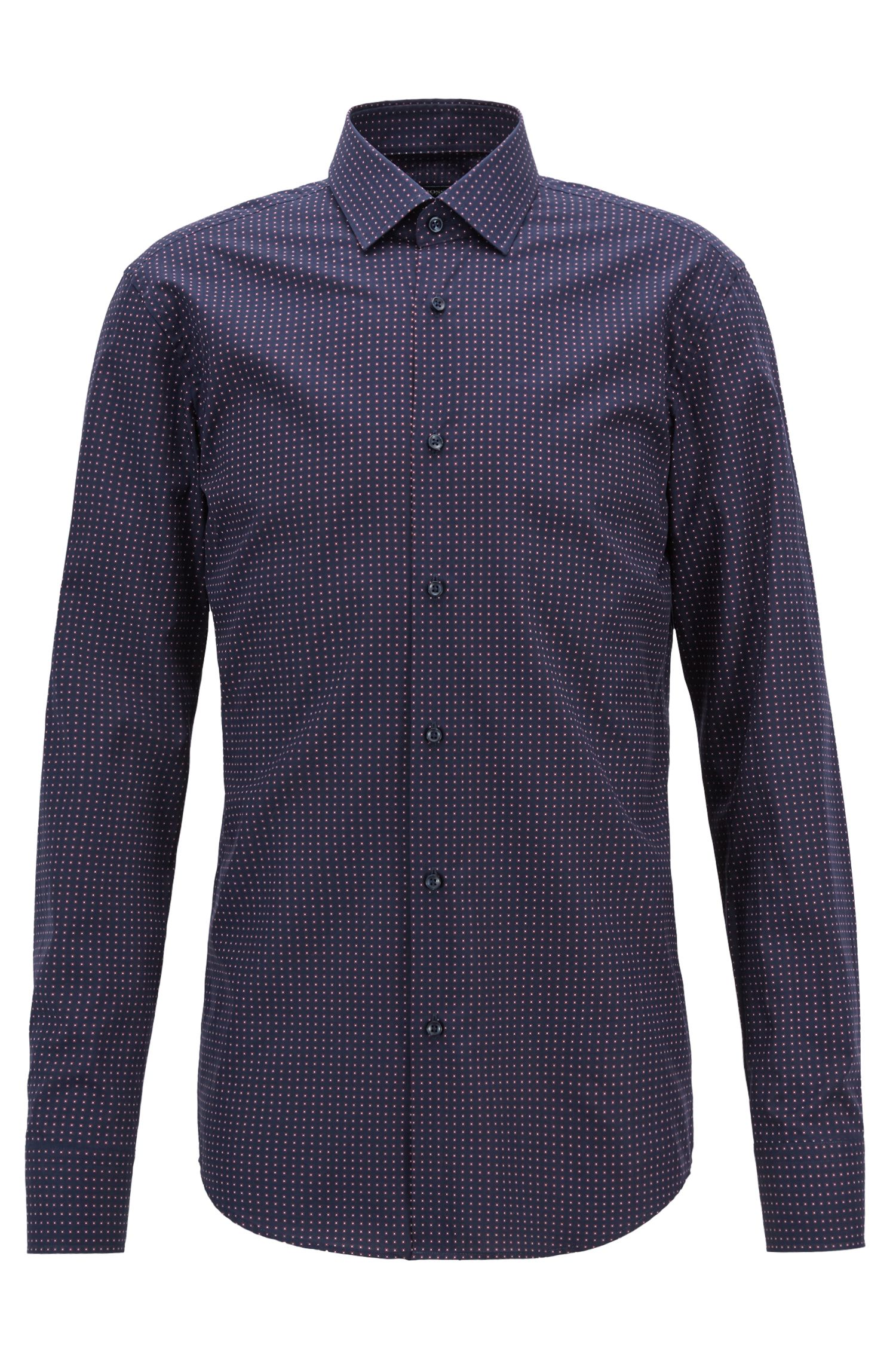 Camicia slim fit in cotone realizzato in Italia con stampa geometrica, Blu scuro