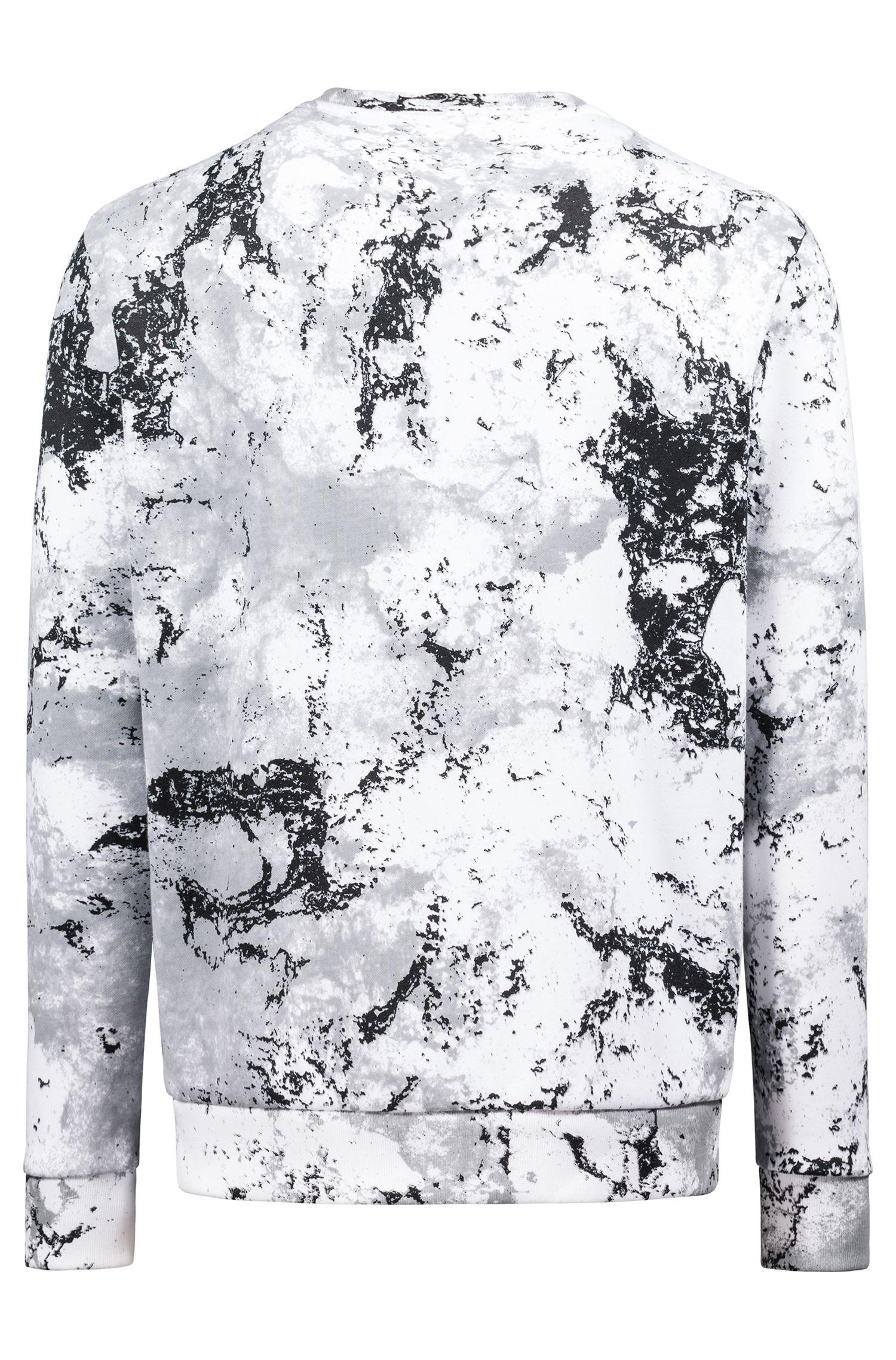 Oversized-fit fleece sweatshirt in snow-camouflage print, Patterned