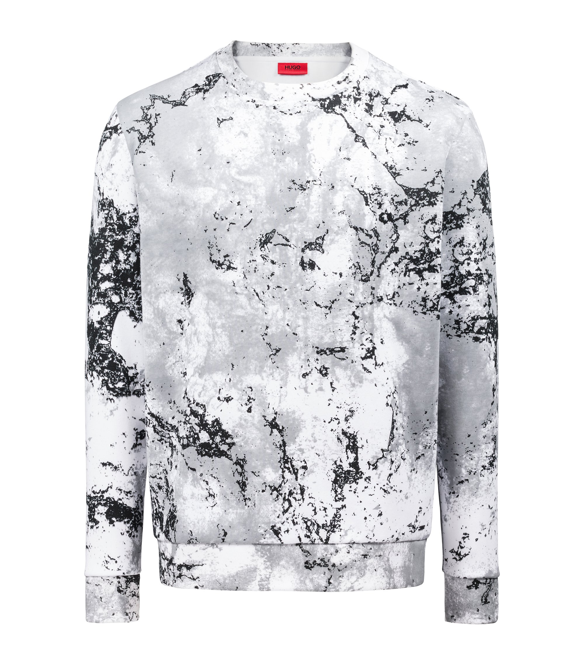 Oversized-fit fleece sweatshirt in snow-camouflage print, Patterned