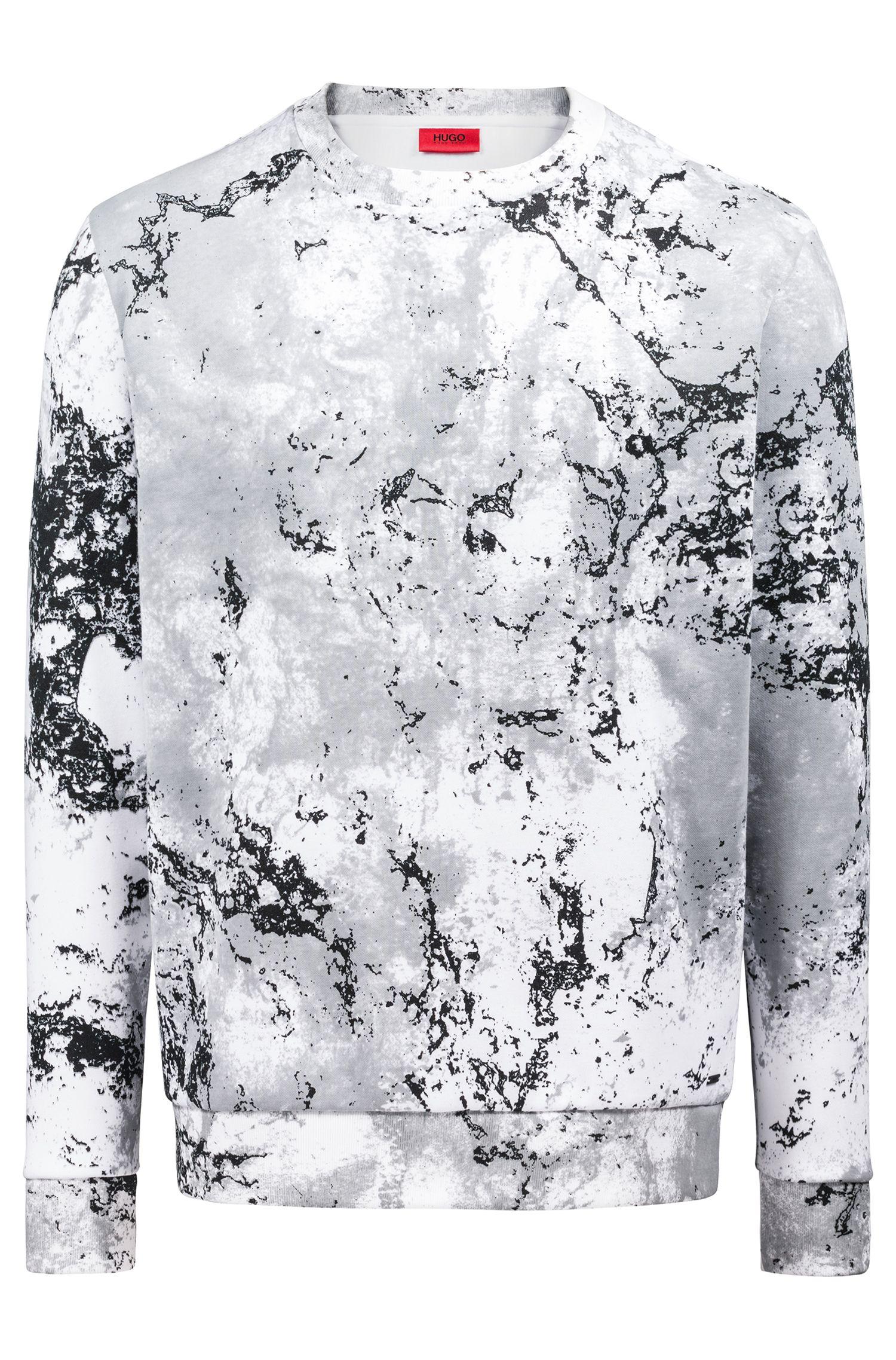 Relaxed-Fit Sweatshirt aus Fleece mit verschneitem Camouflage-Print, Gemustert