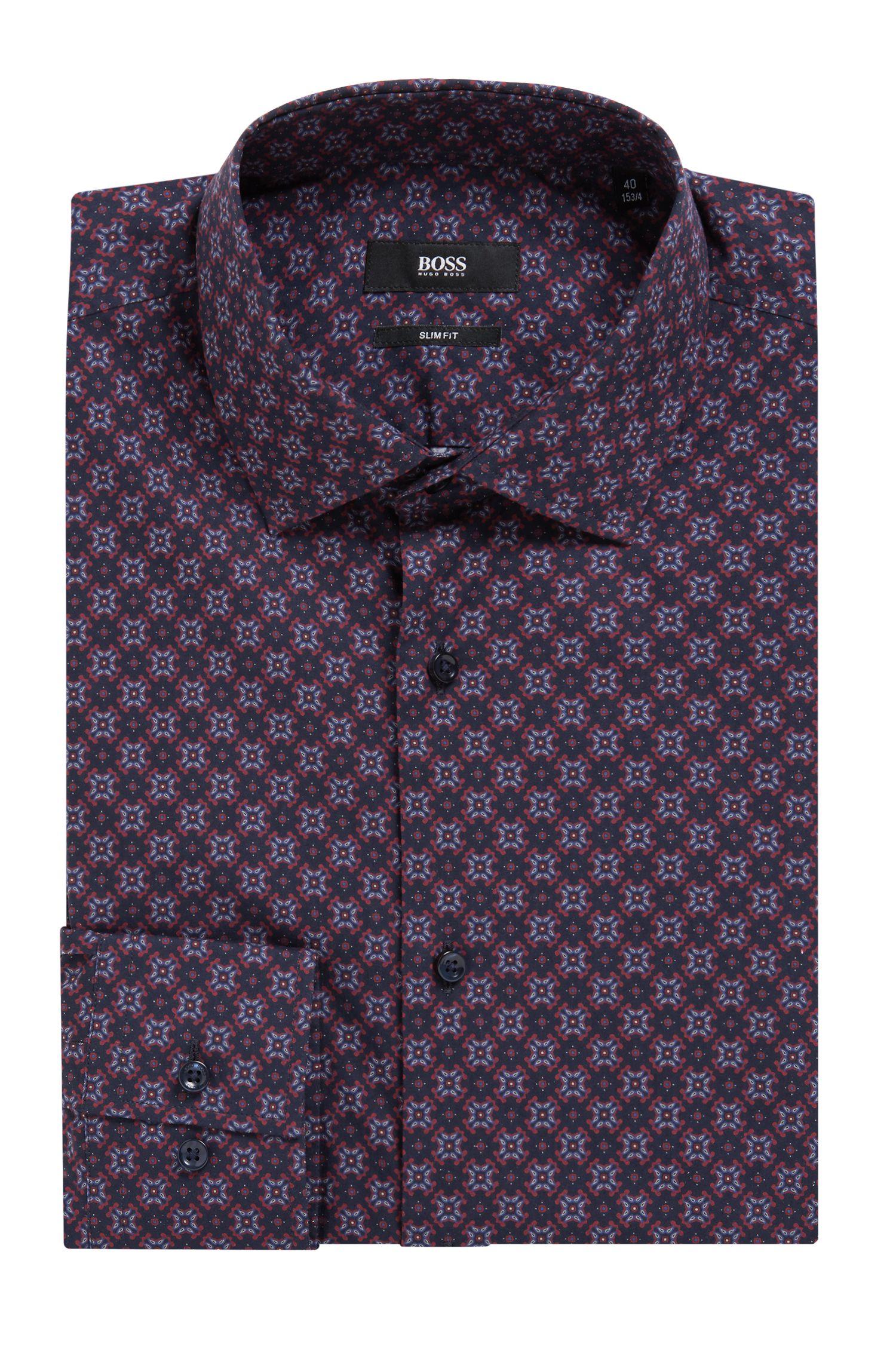 Slim-Fit Hemd aus italienischer Baumwolle mit Print der Saison, Dunkelblau