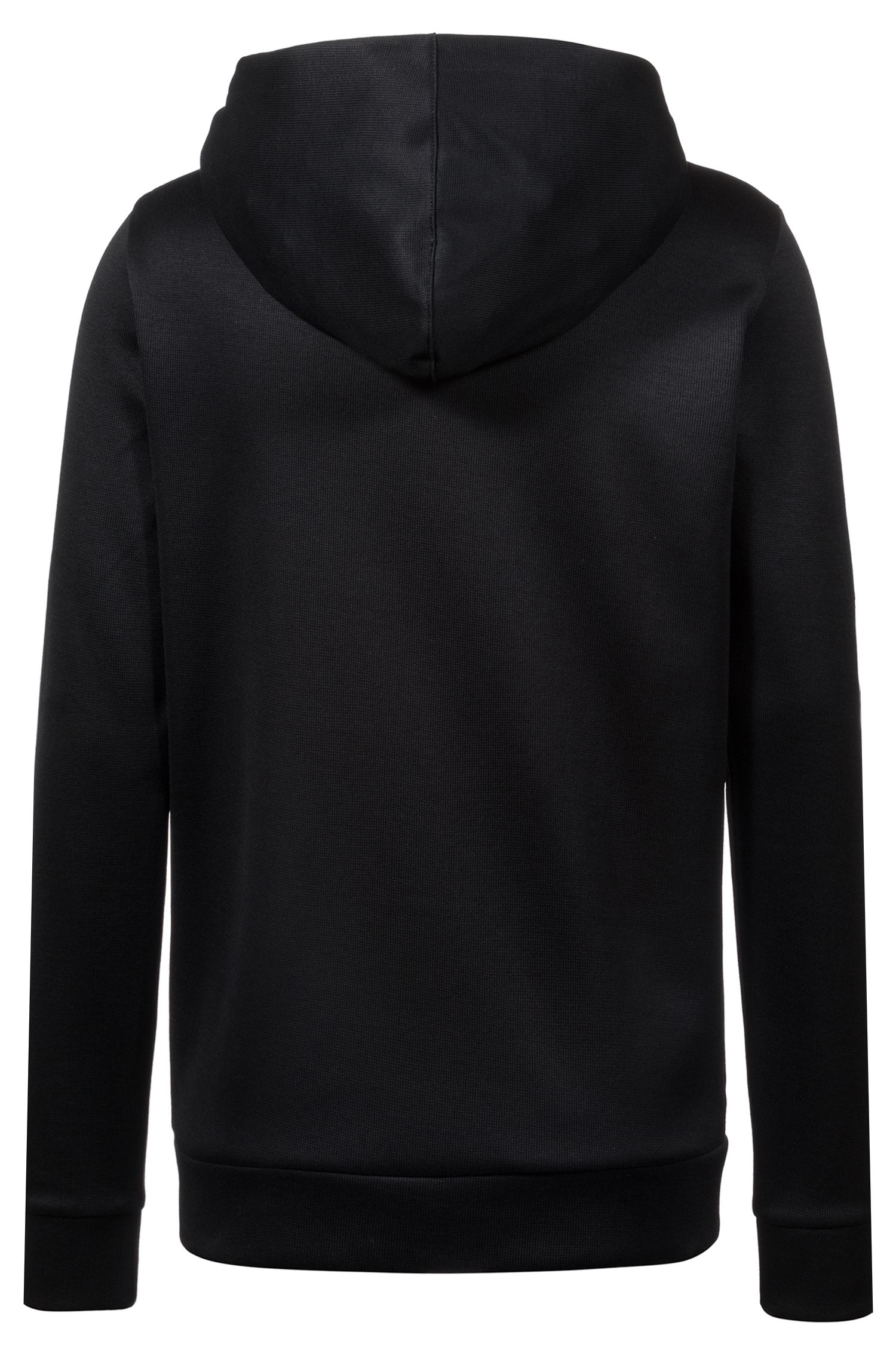 Relaxed-fit hooded sweatshirt in French rib cotton, Black