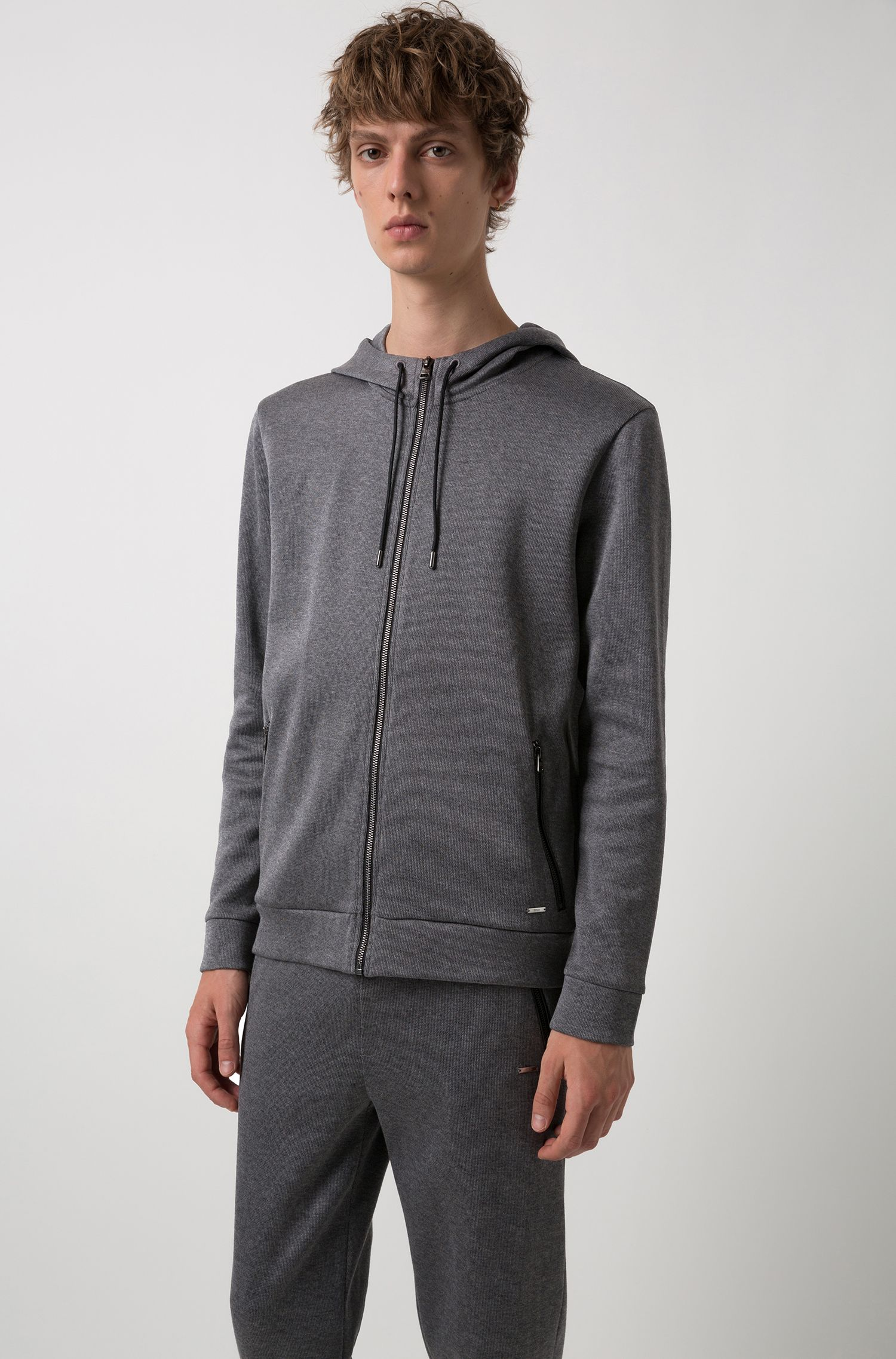 Relaxed-fit hooded sweatshirt in French rib cotton, Grey