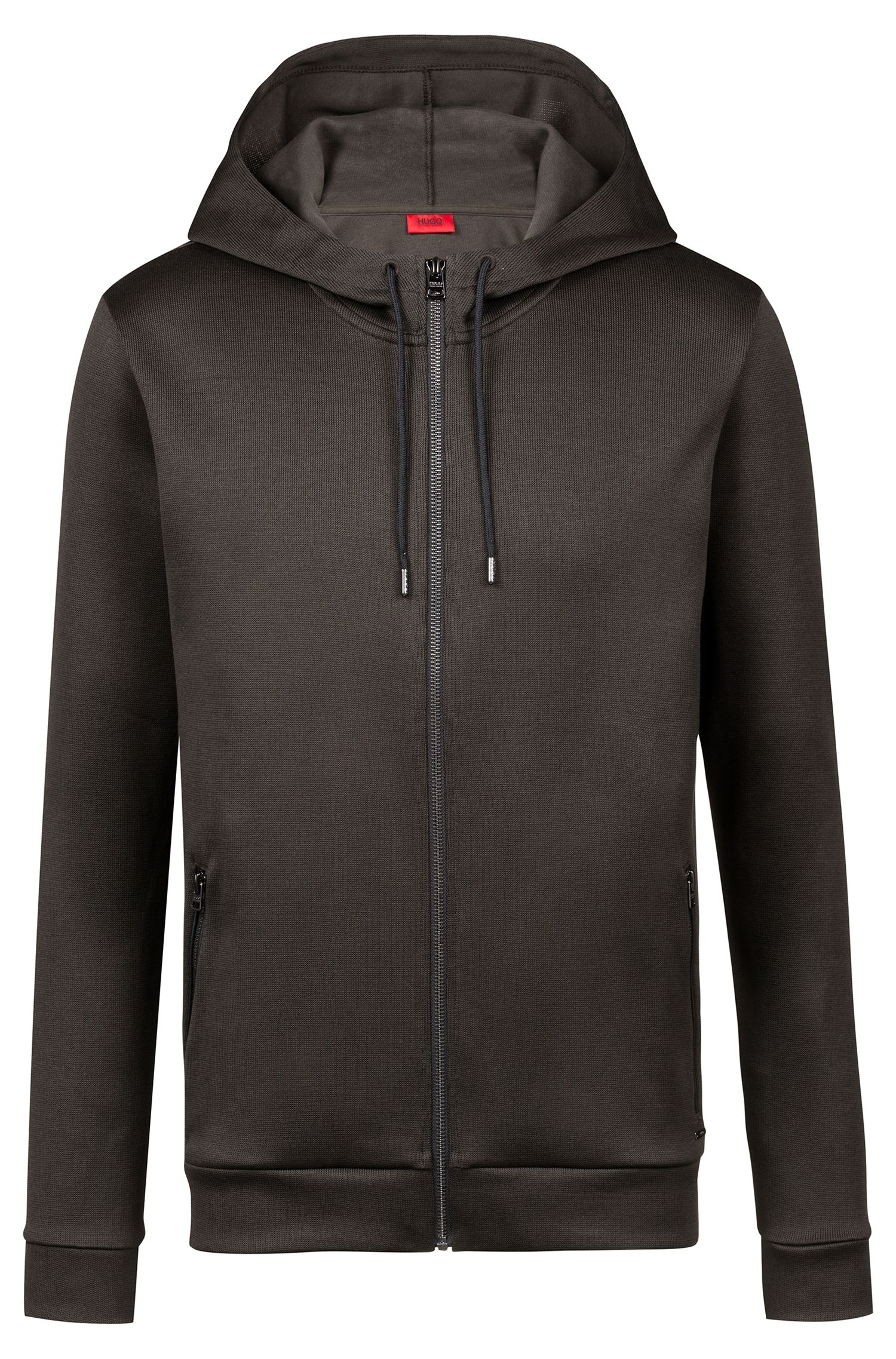 Relaxed-fit hooded sweatshirt in French rib cotton, Dark Green