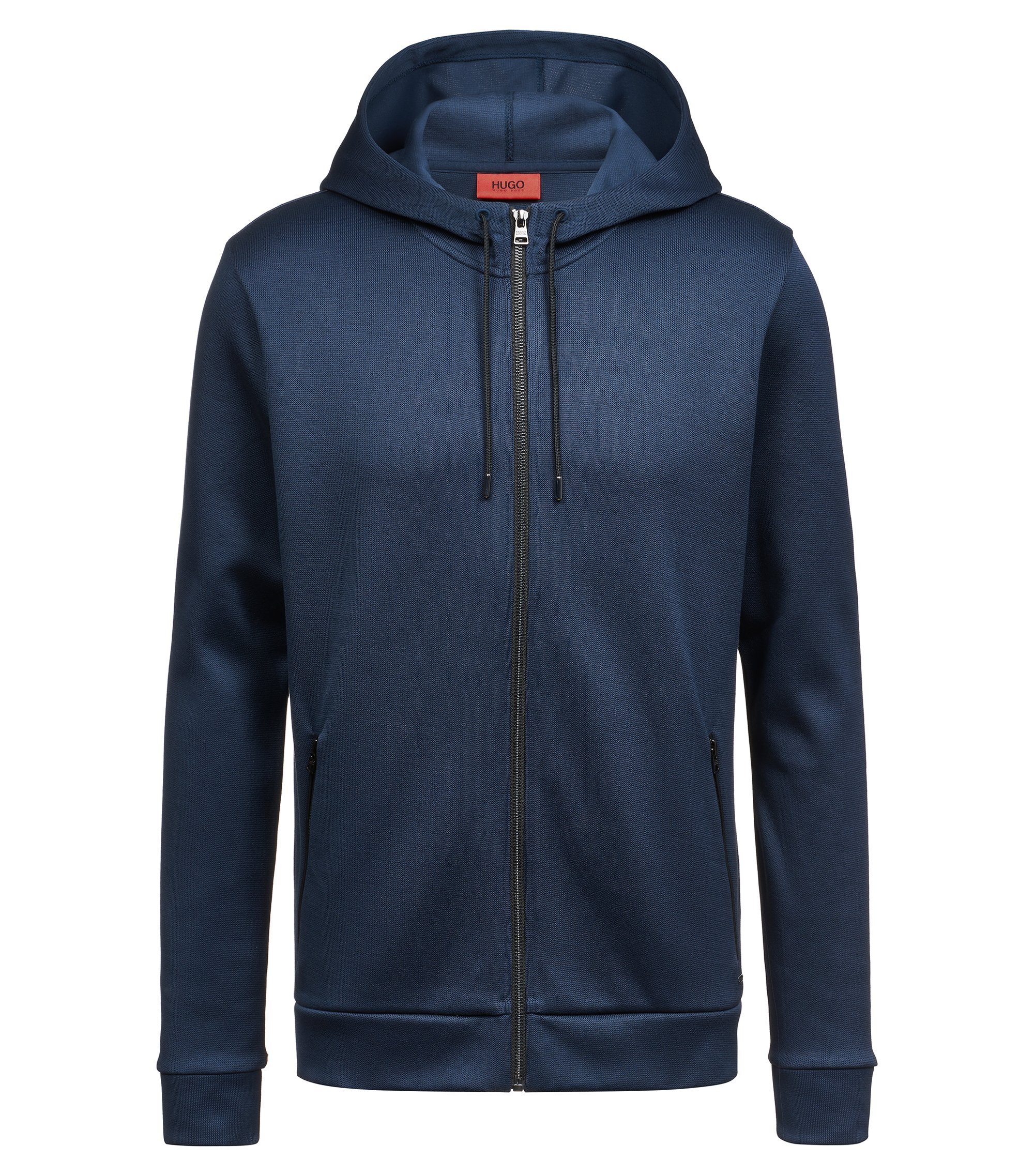 Relaxed-fit hooded sweatshirt in French rib cotton, Dark Blue