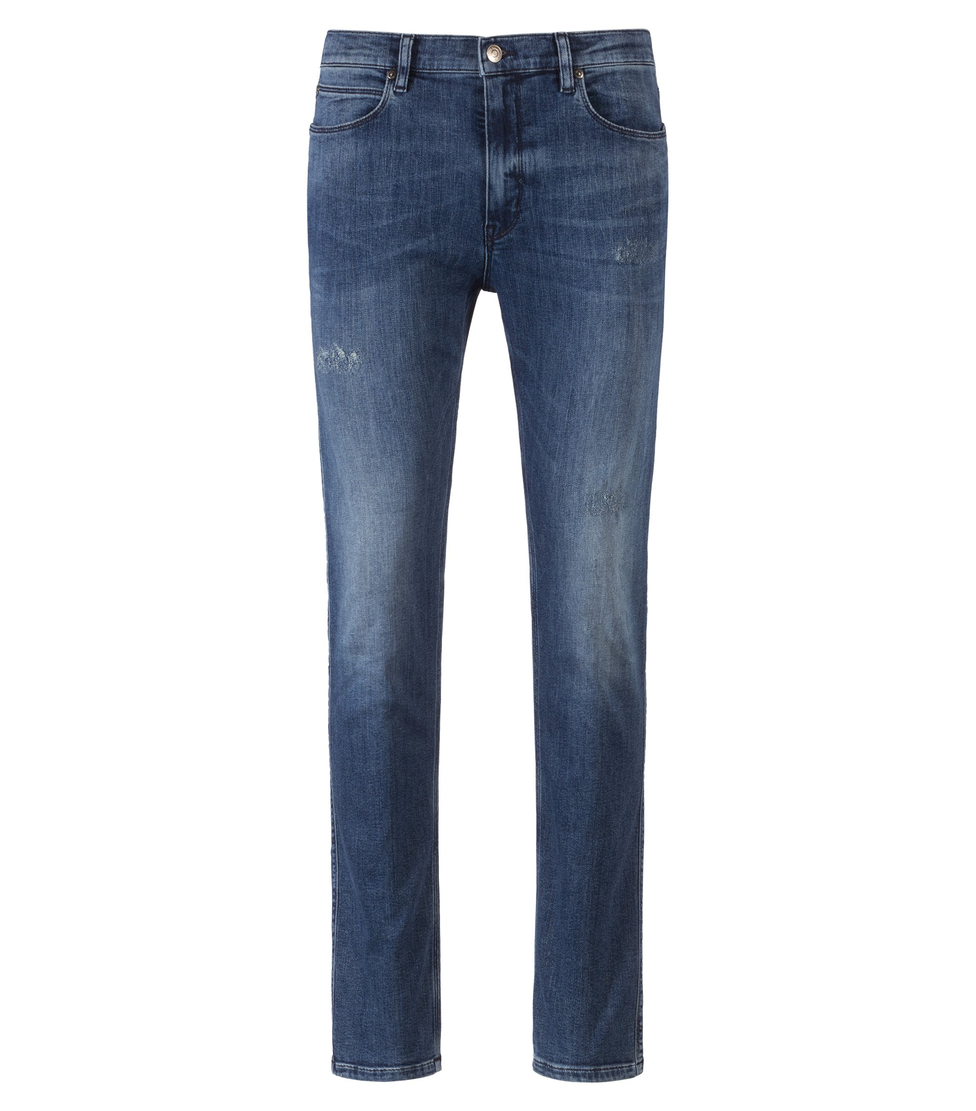 Skinny-fit jeans in stretch denim with abrasions, Blue