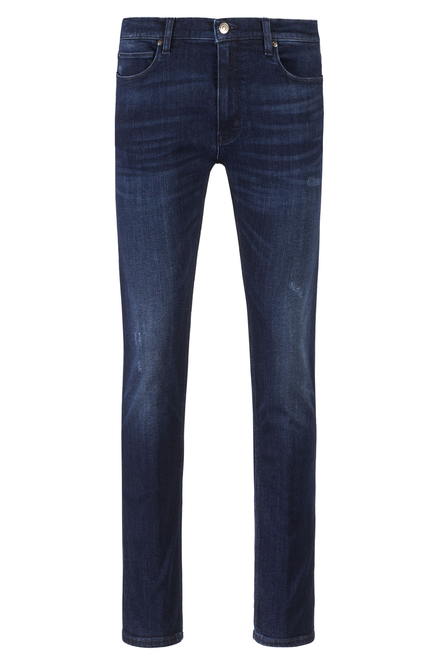 Jean Skinny Fit en denim stretch bleu, Bleu foncé