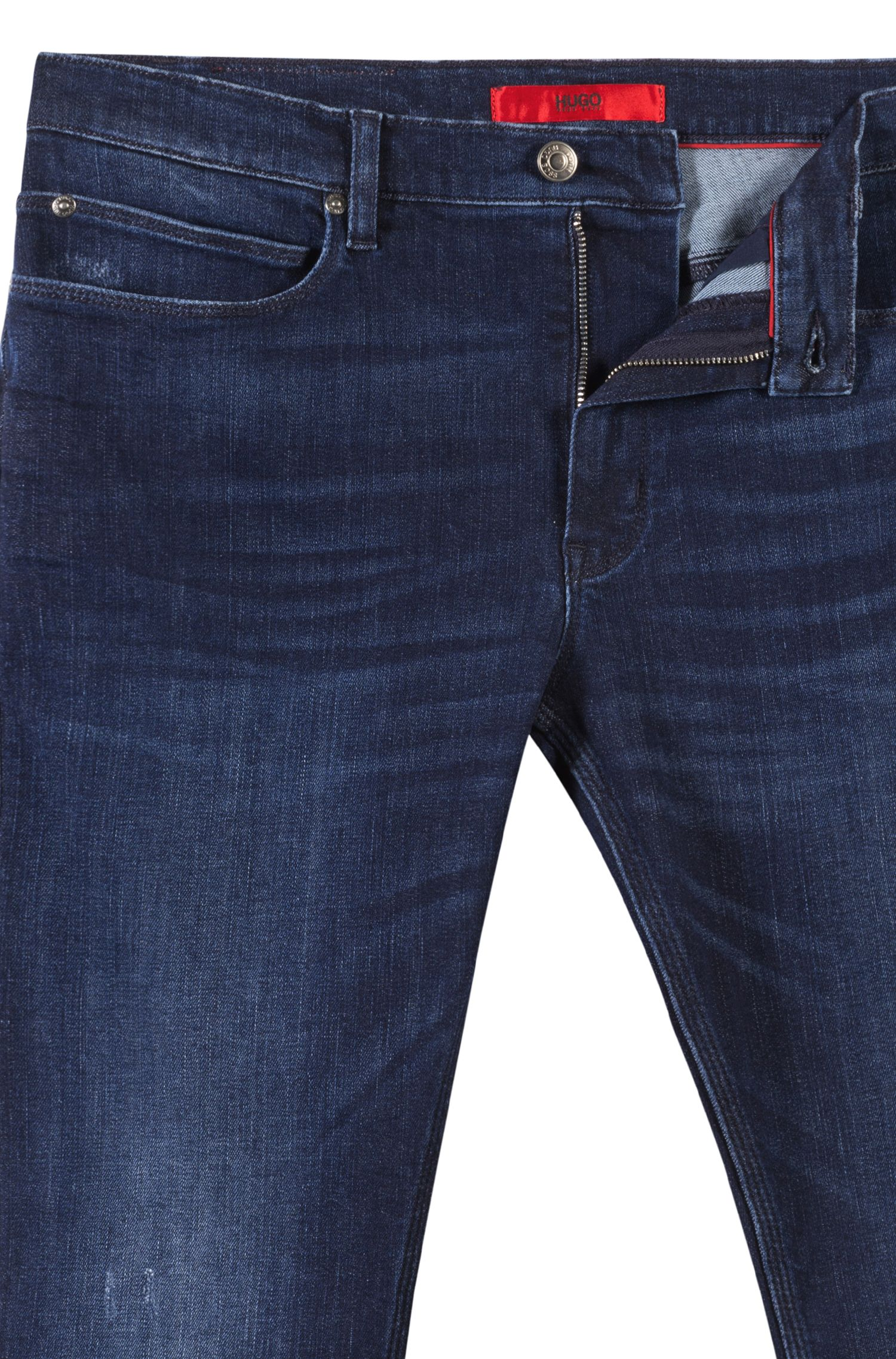 Jeans skinny fit in denim elasticizzato blu, Blu scuro