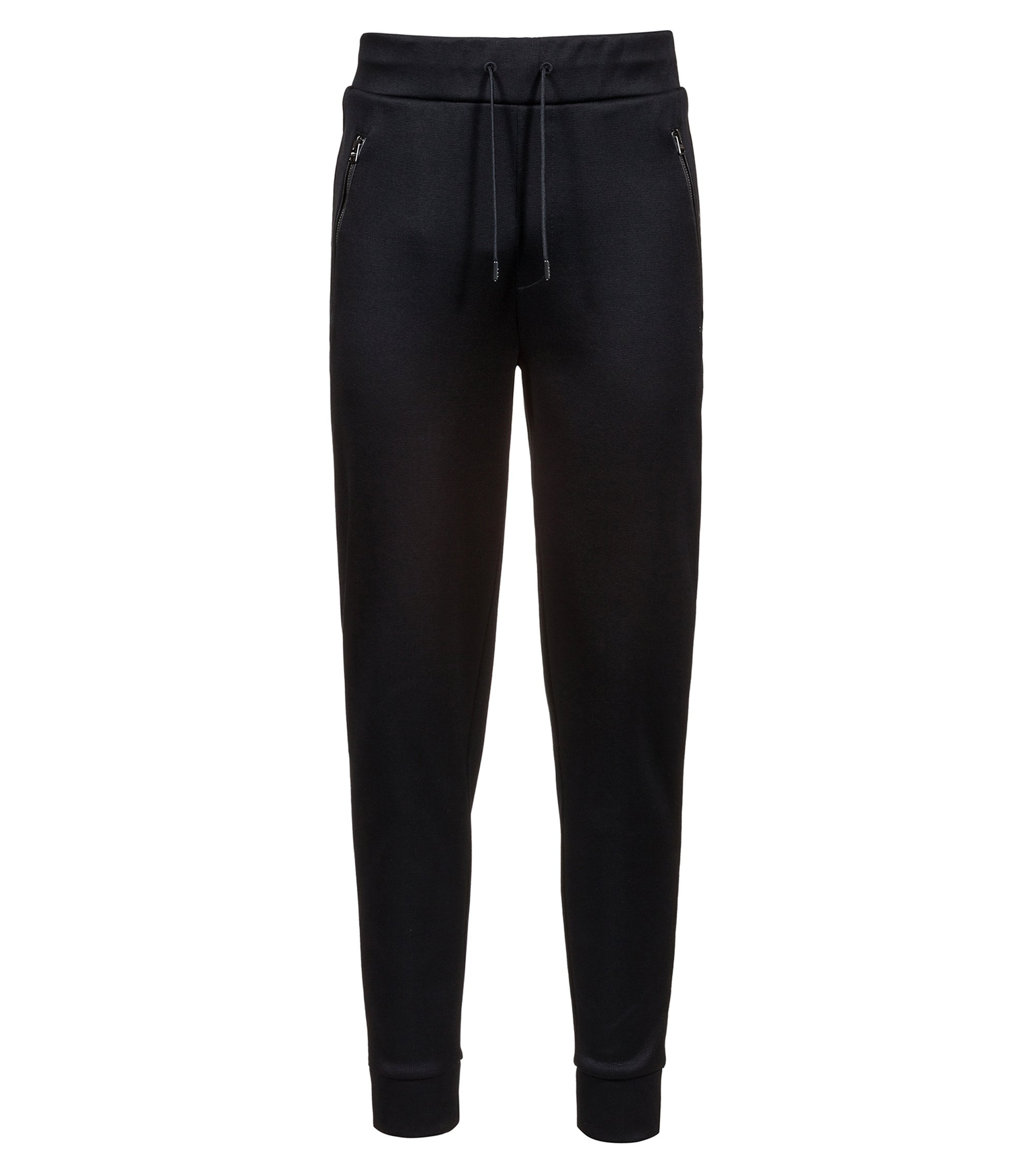 Jersey trousers in French rib with drawstring waist, Black