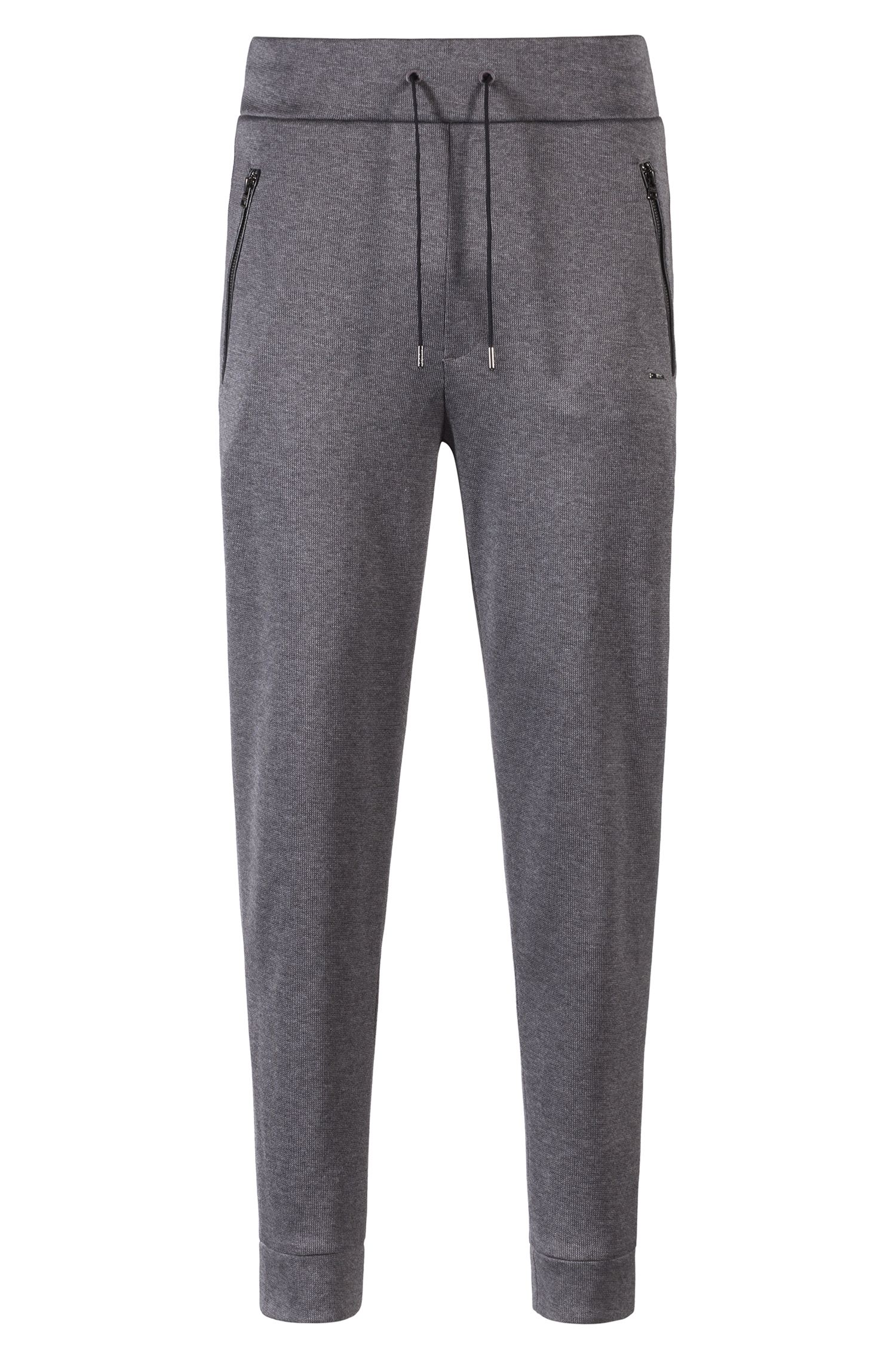 Jersey trousers in French rib with drawstring waist, Grey