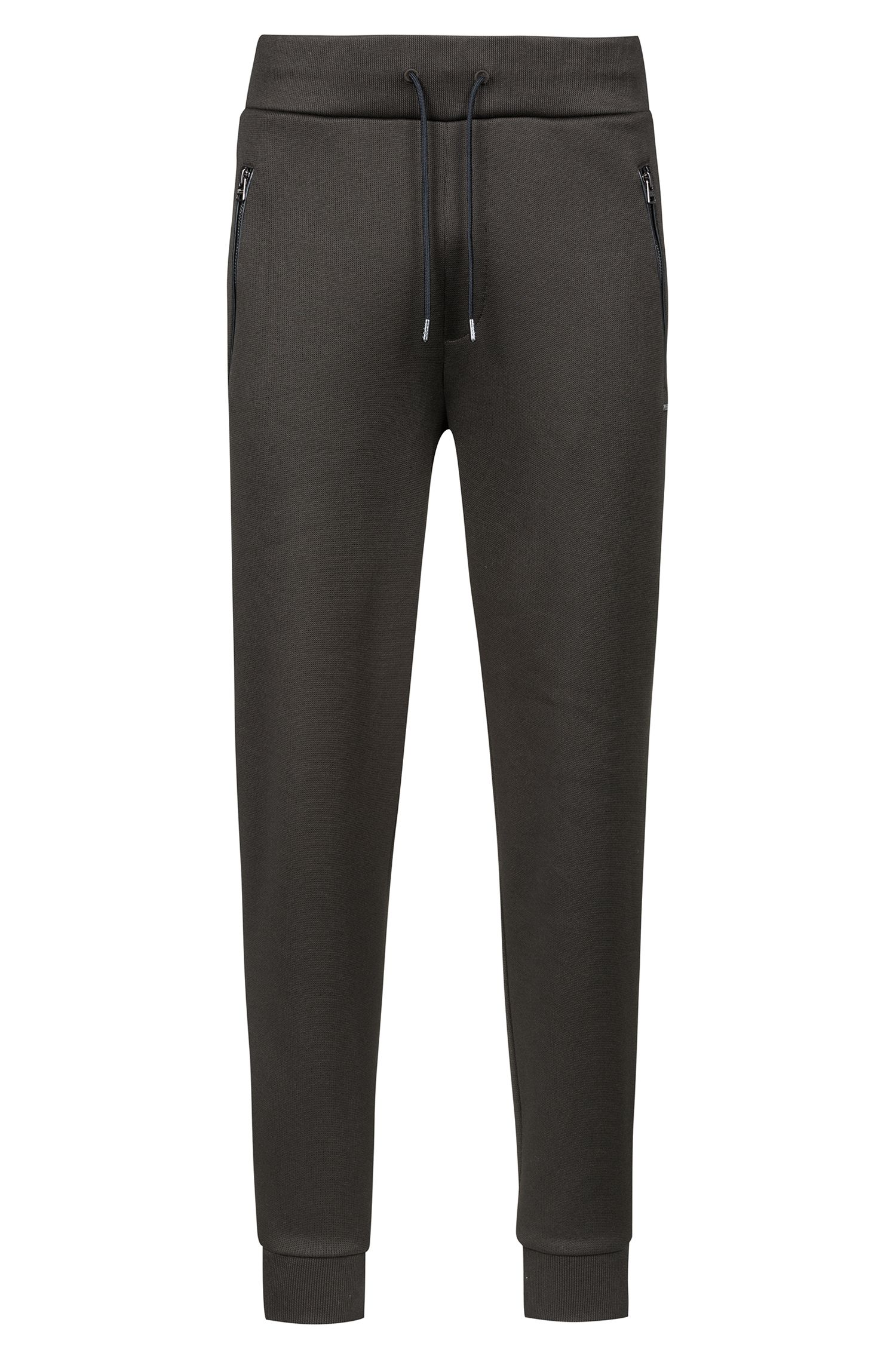 Jersey trousers in French rib with drawstring waist, Dark Green
