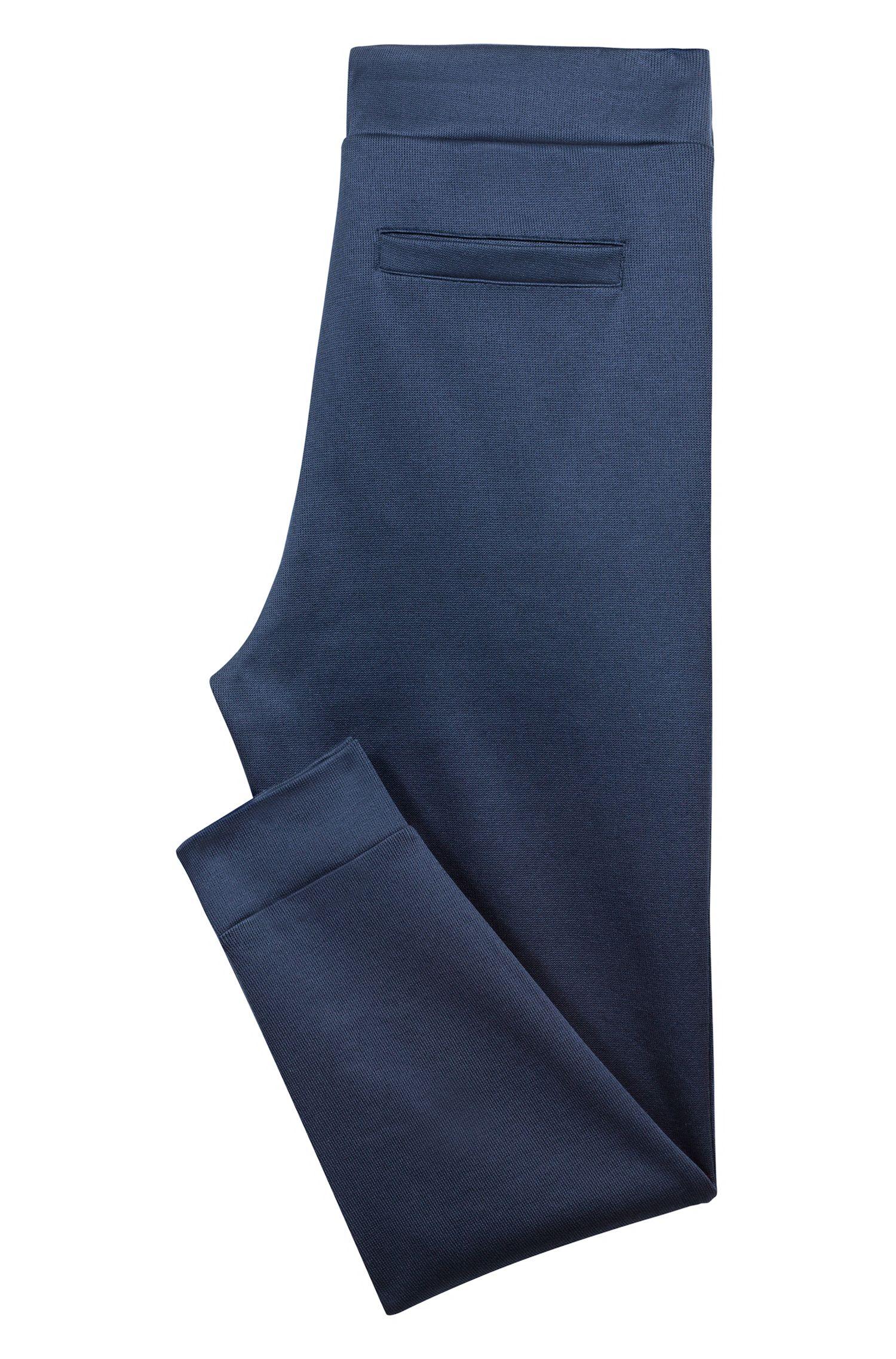 Jersey broek van Frans ribmateriaal met tailleband met trekkoord, Donkerblauw