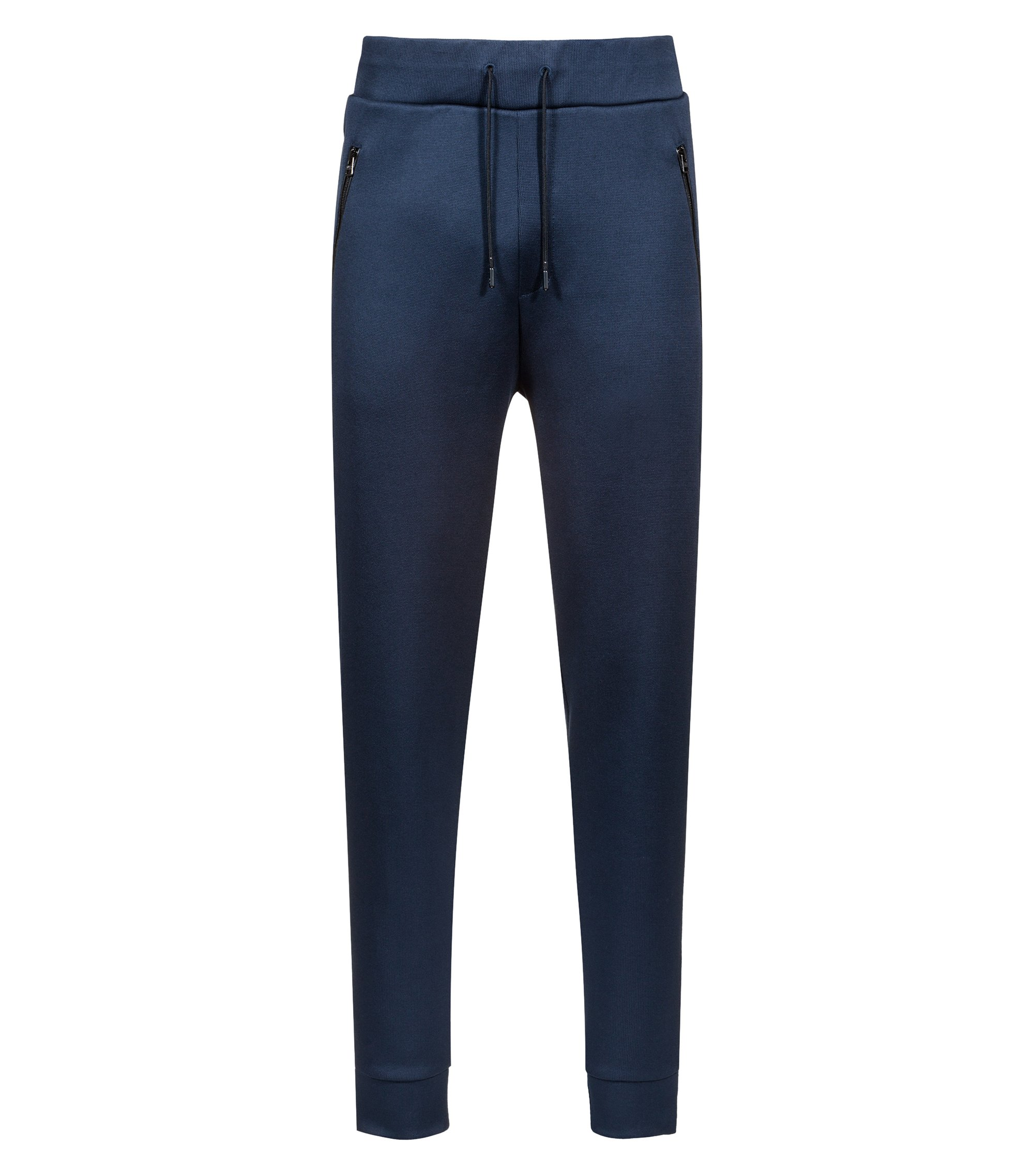 Jersey trousers in French rib with drawstring waist, Dark Blue