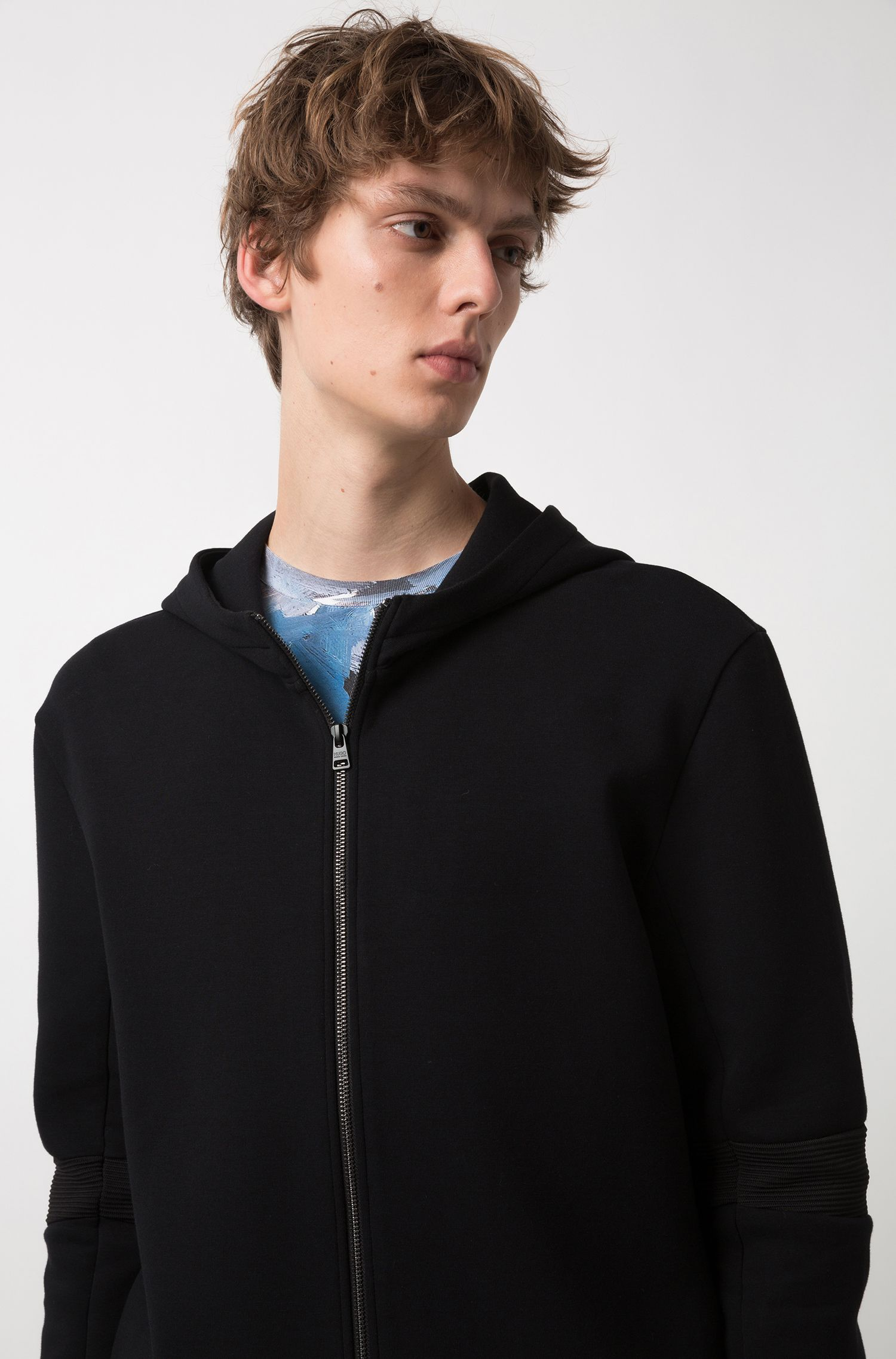 Oversized-fit zip-through hoodie with ribbed elbows, Black