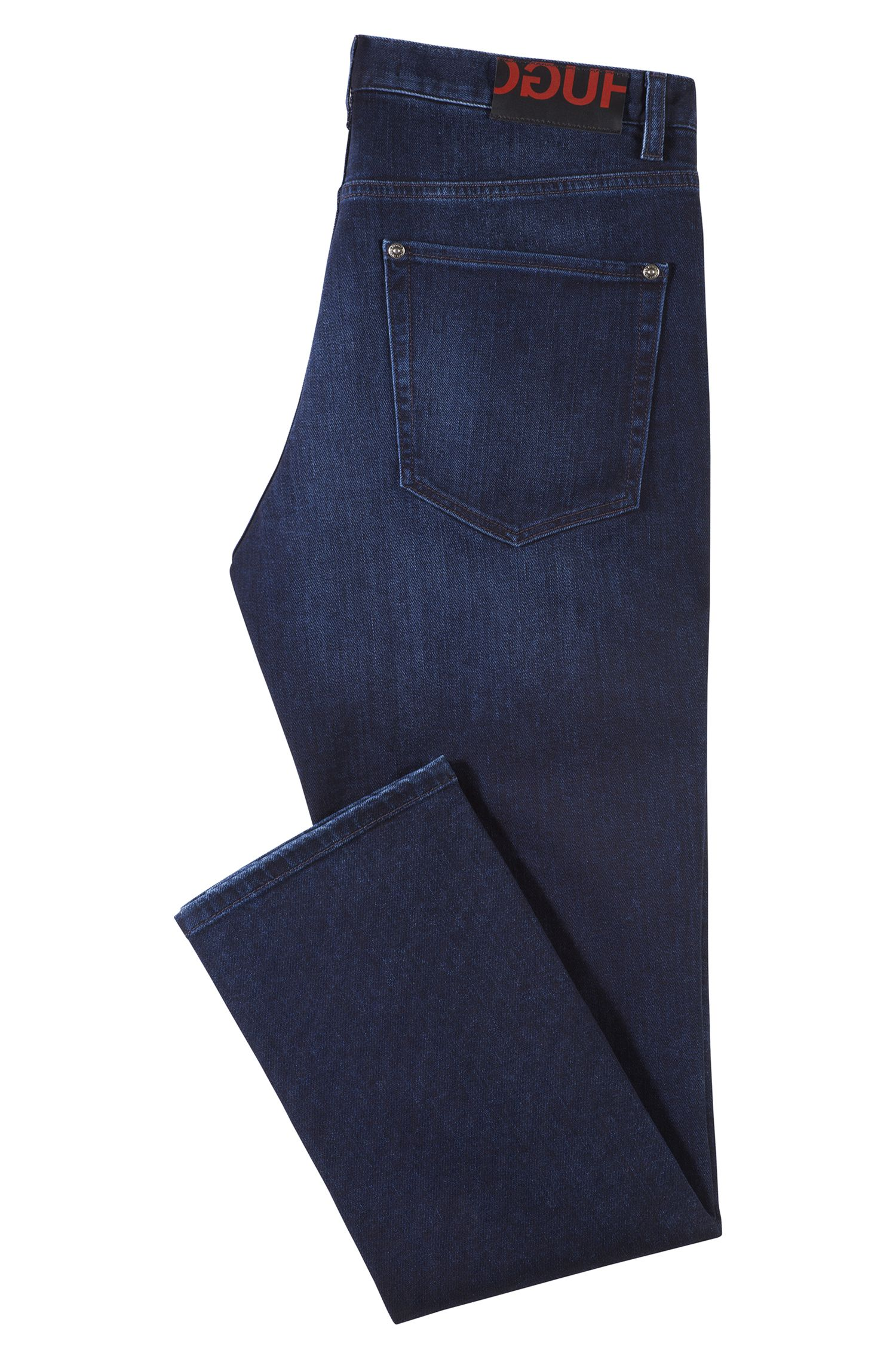 Straight-leg jeans in mid-washed blue stretch denim