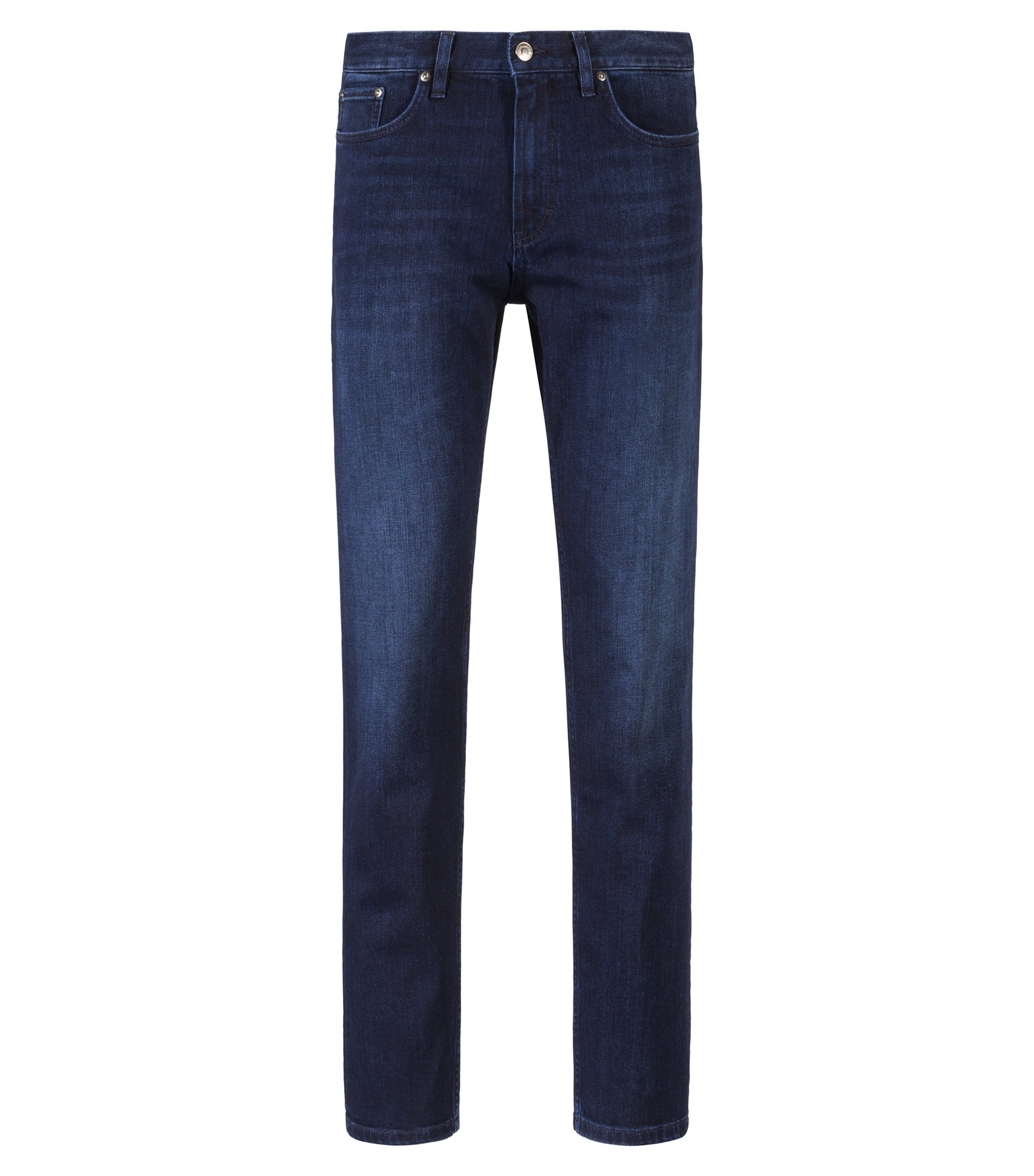 Jean droit en denim stretch bleu au délavage moyen, Bleu foncé