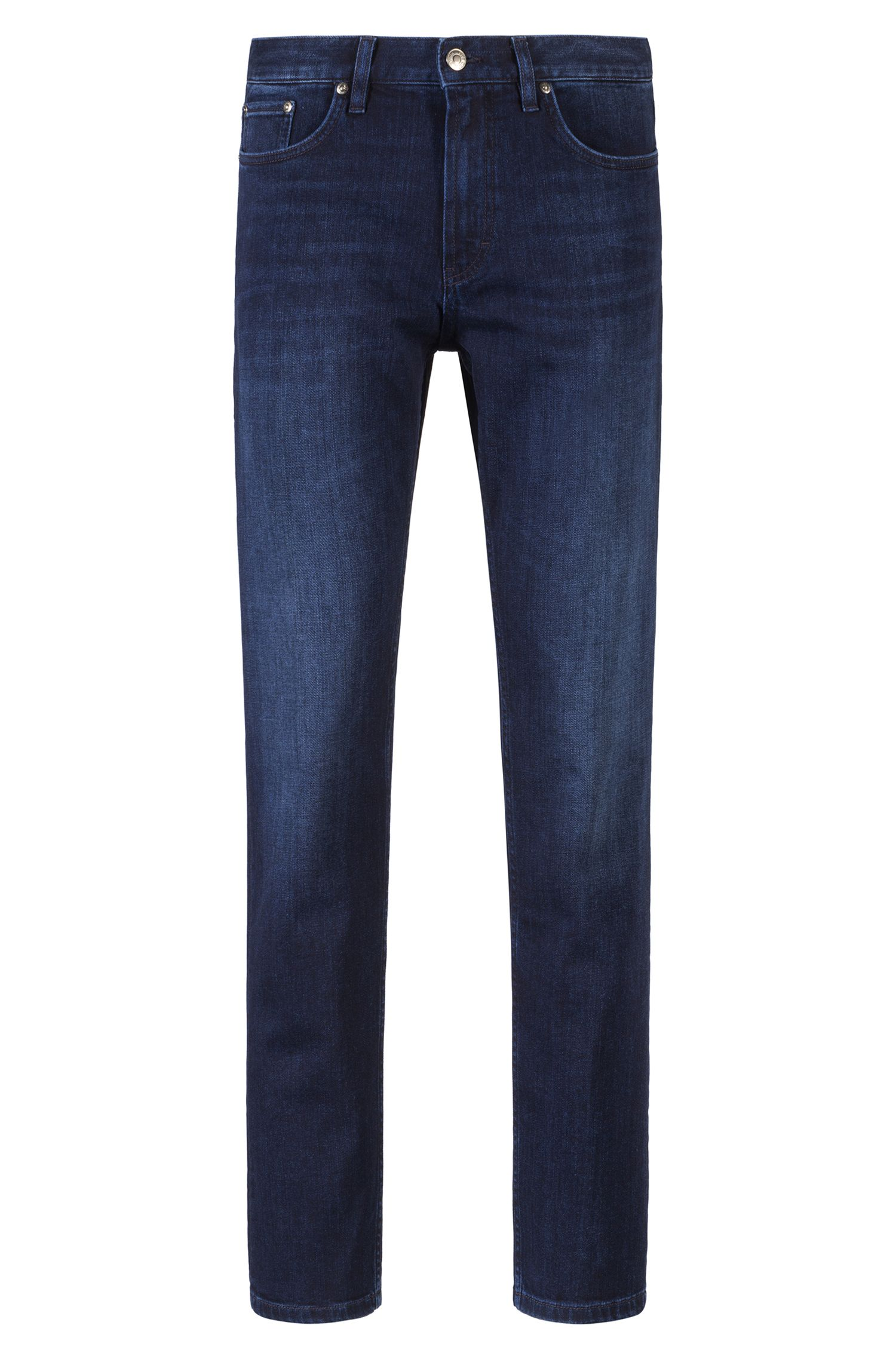 Regular-Fit Jeans aus Stretch-Denim mit geradem Beinverlauf, Dunkelblau