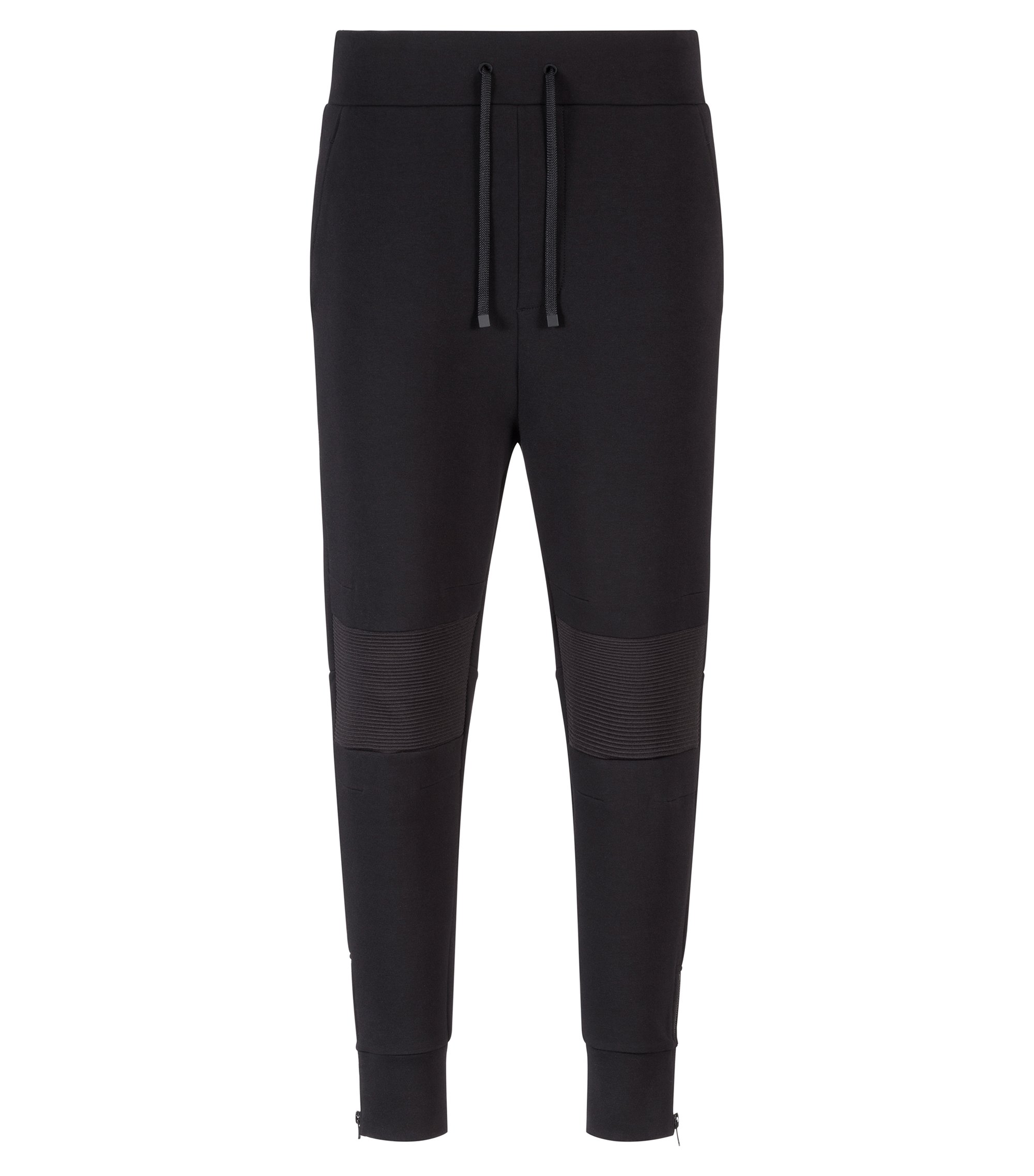 Relaxed-fit cotton-blend trousers with ribbed knees, Black