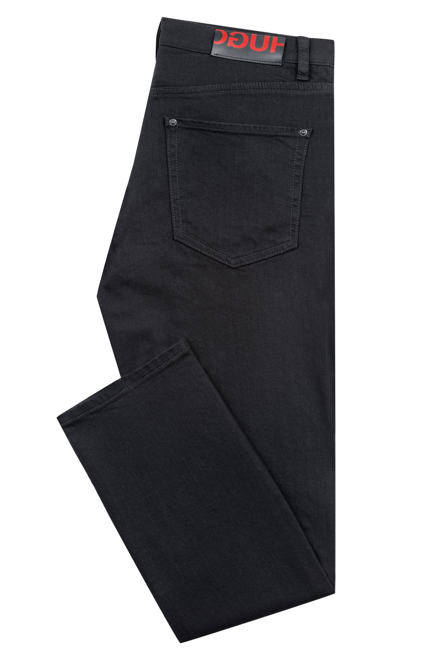 Straight-leg jeans in soft-washed black stretch denim