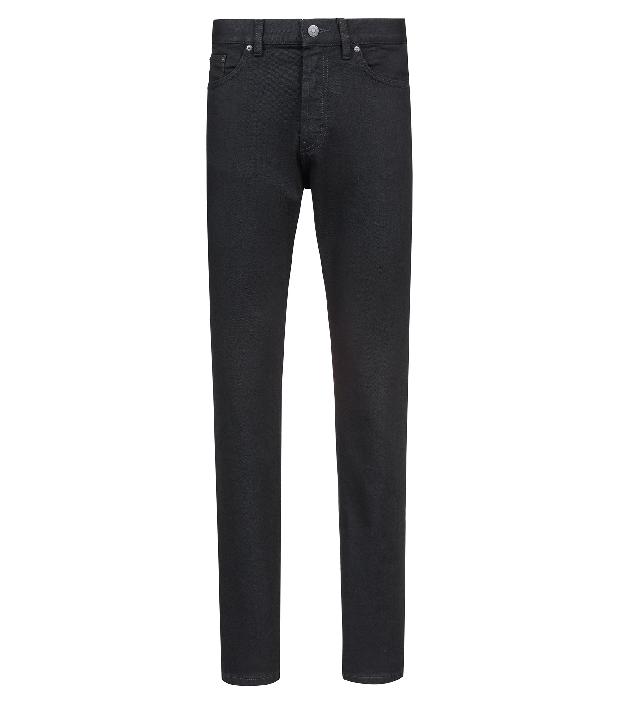 Straight-leg jeans in soft-washed black stretch denim, Black