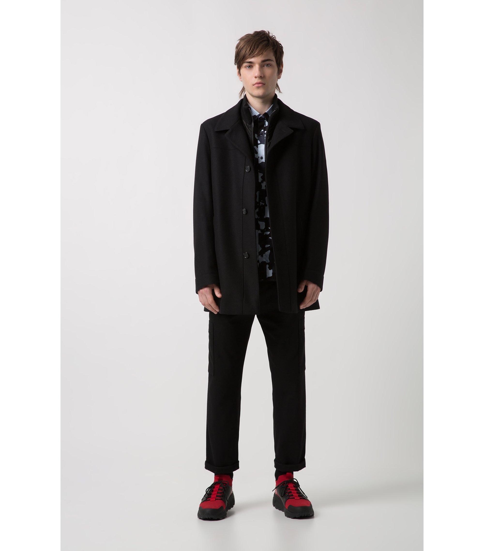 Jacke aus Schurwoll-Mix mit herausnehmbarem Einsatz, Schwarz