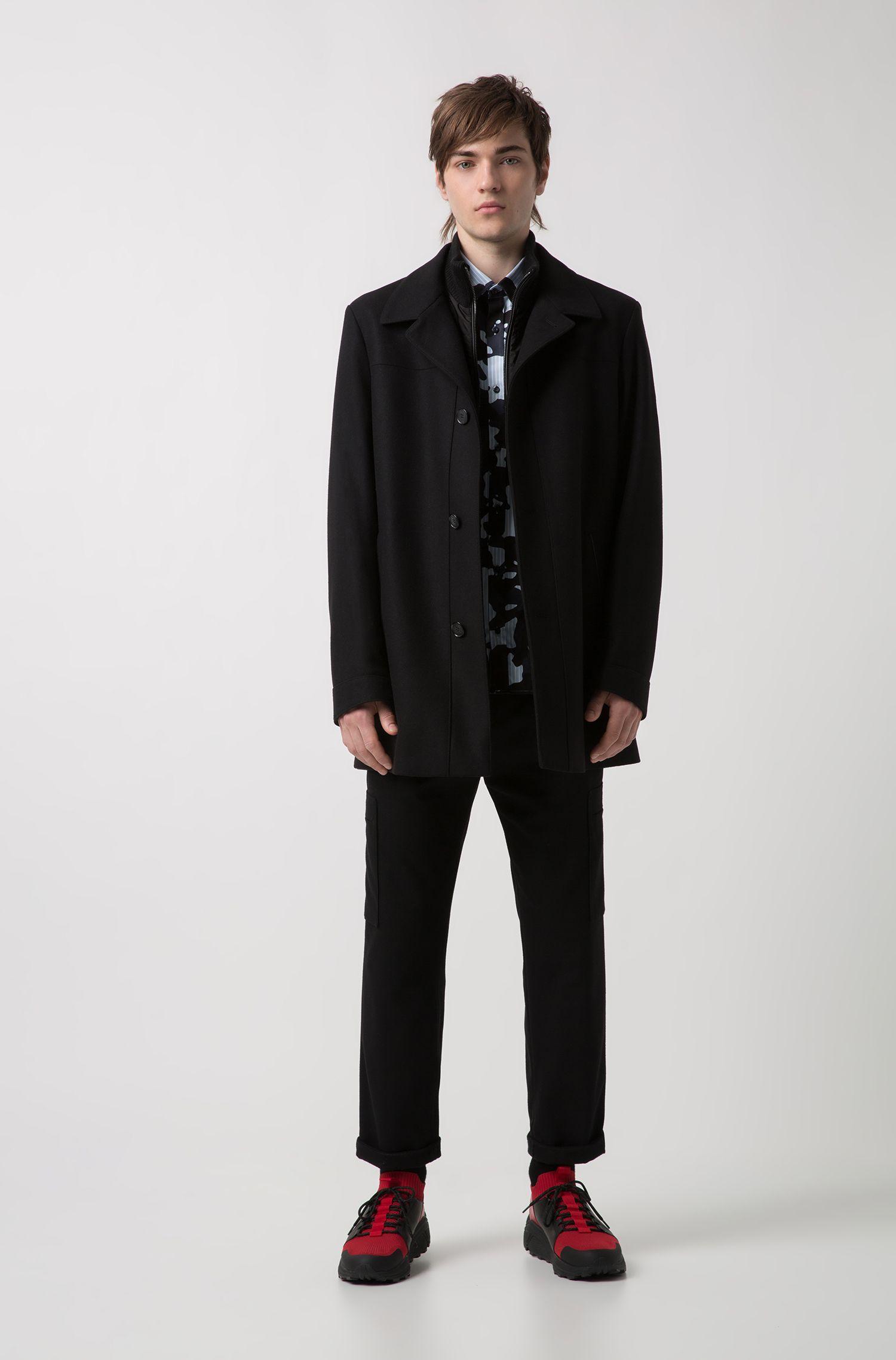 Virgin-wool-blend jacket with detachable zipped insert