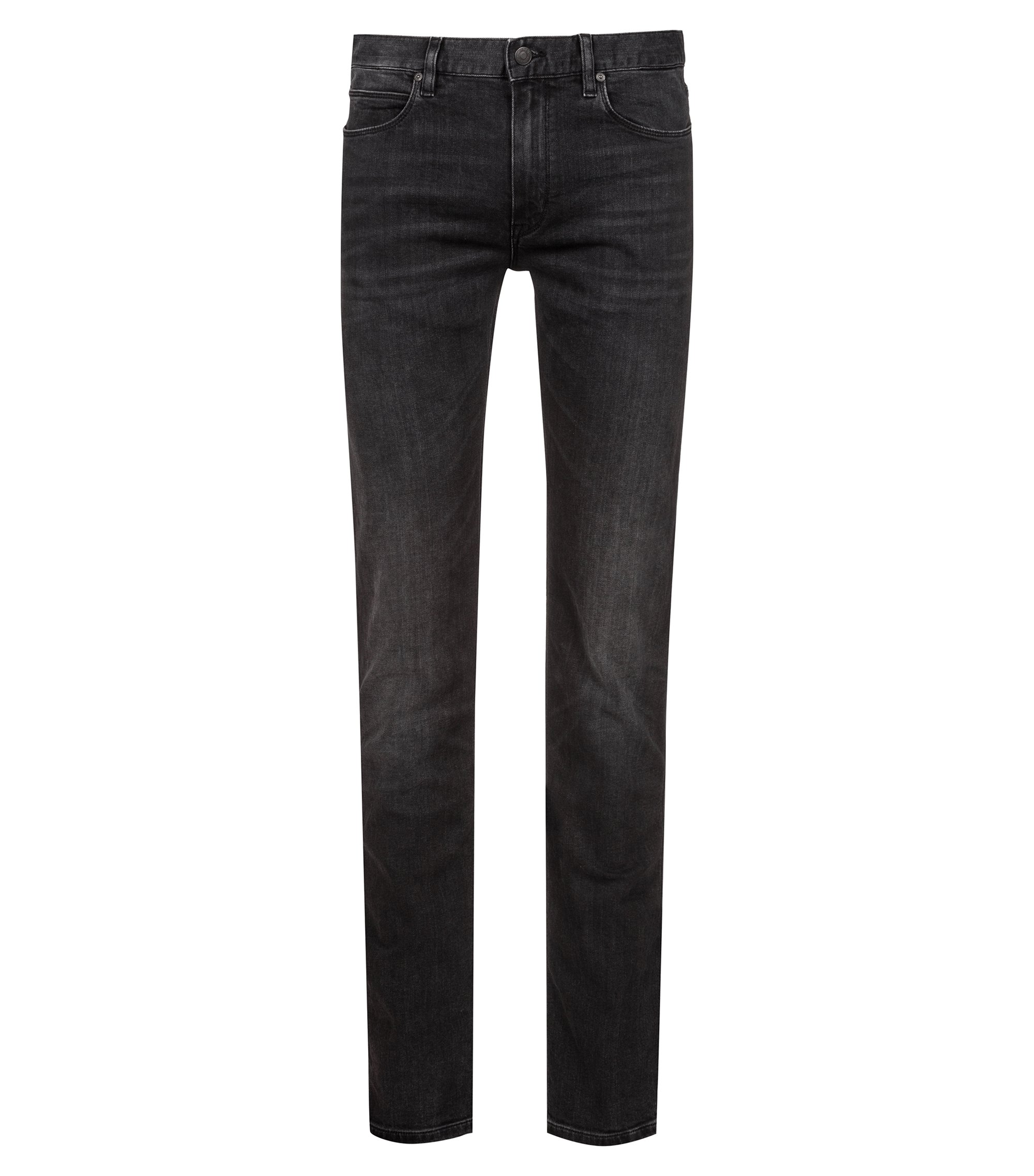 Slim-fit jeans in dark-grey stretch denim, Black