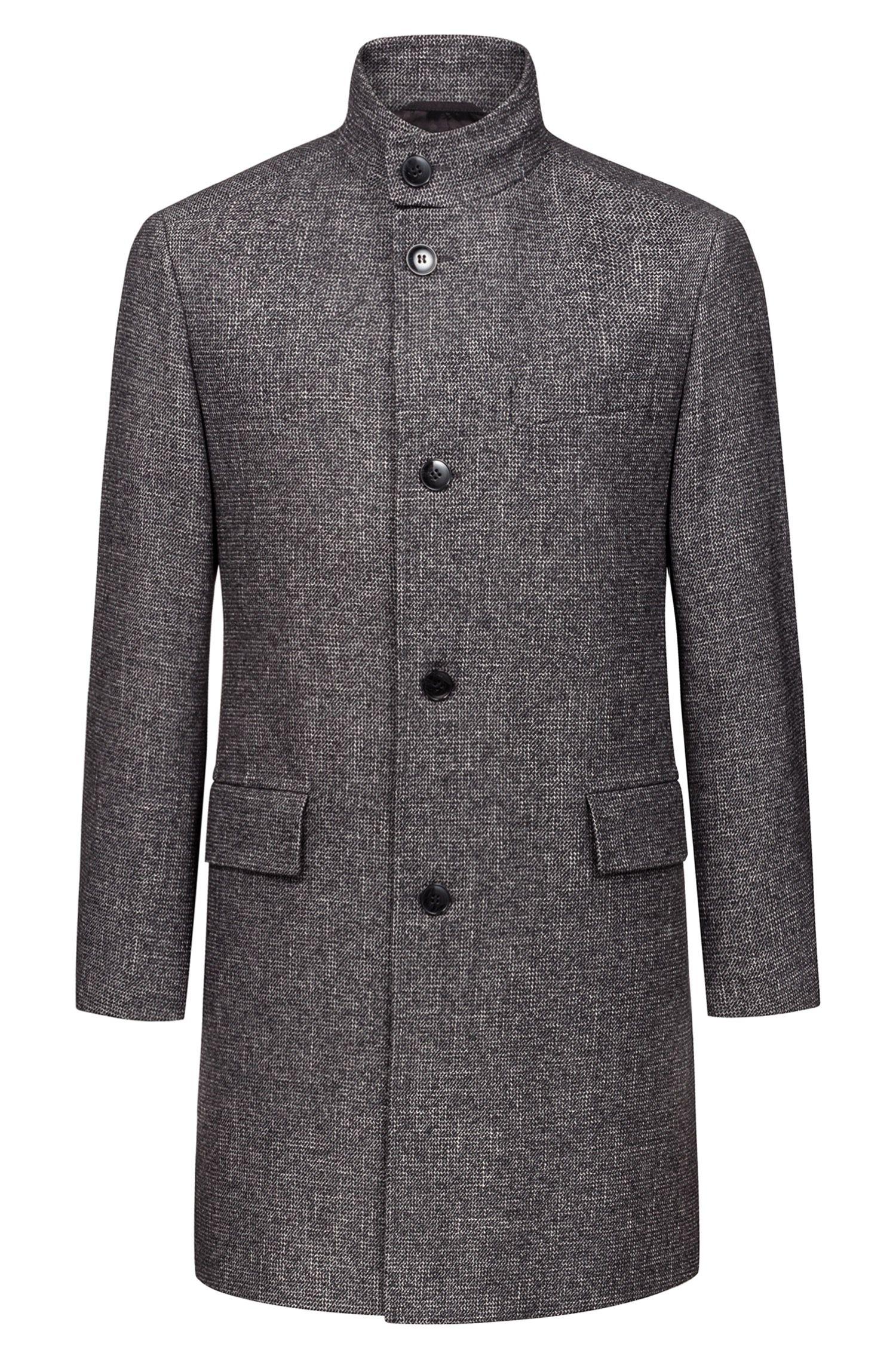 Abrigo regular fit con microestampado integral, Gris oscuro