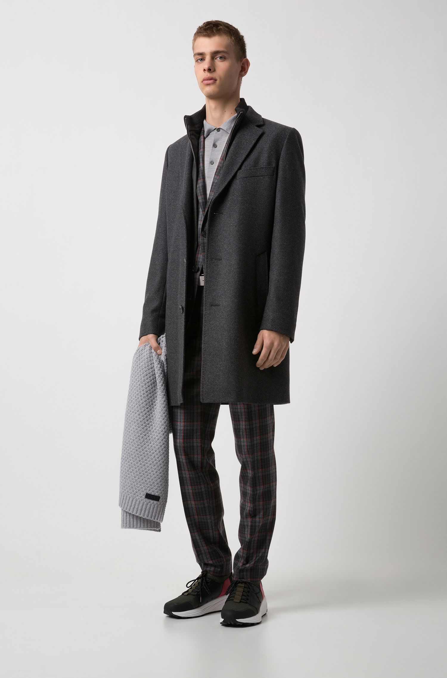 Wool-blend striped coat with detachable neck insert, Anthracite