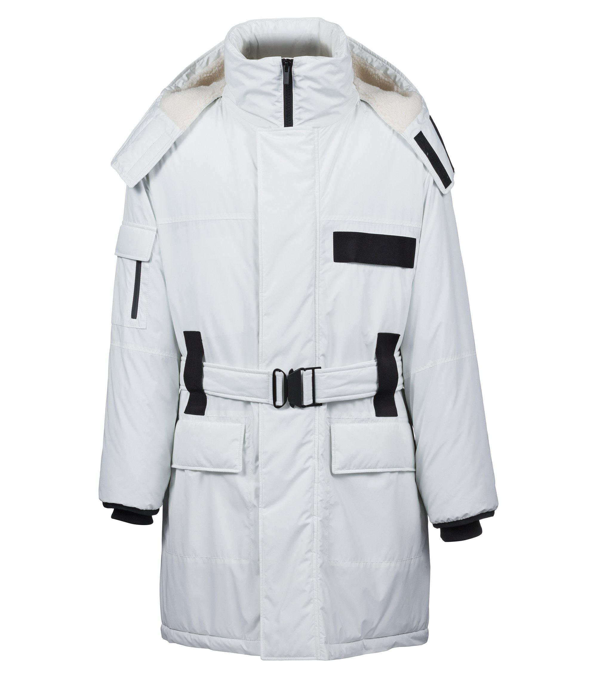 Water-repellent coat with zipped hood and contrast trims, White