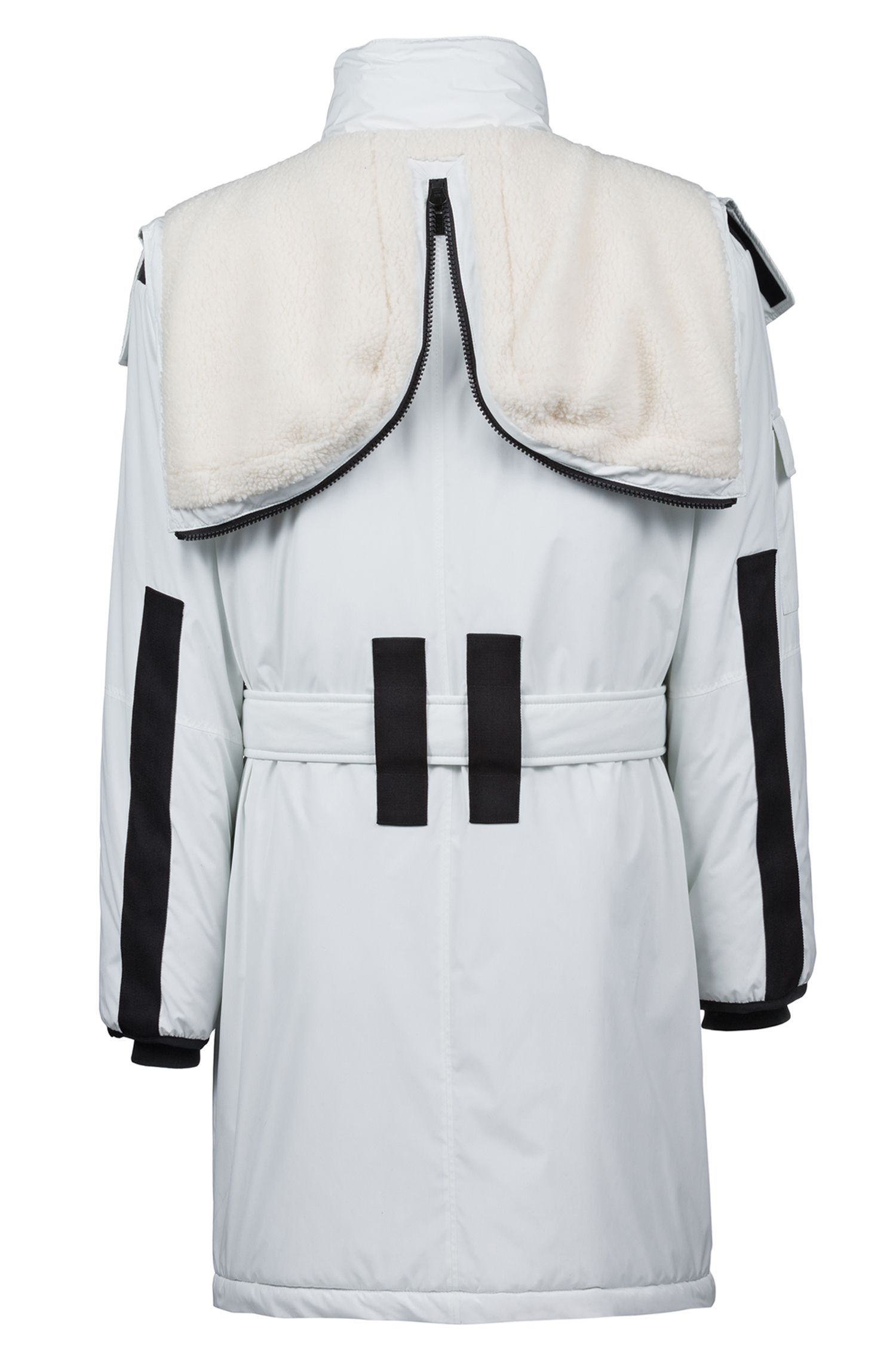 Cappotto idrorepellente con cappuccio con zip e rifiniture a contrasto, Bianco
