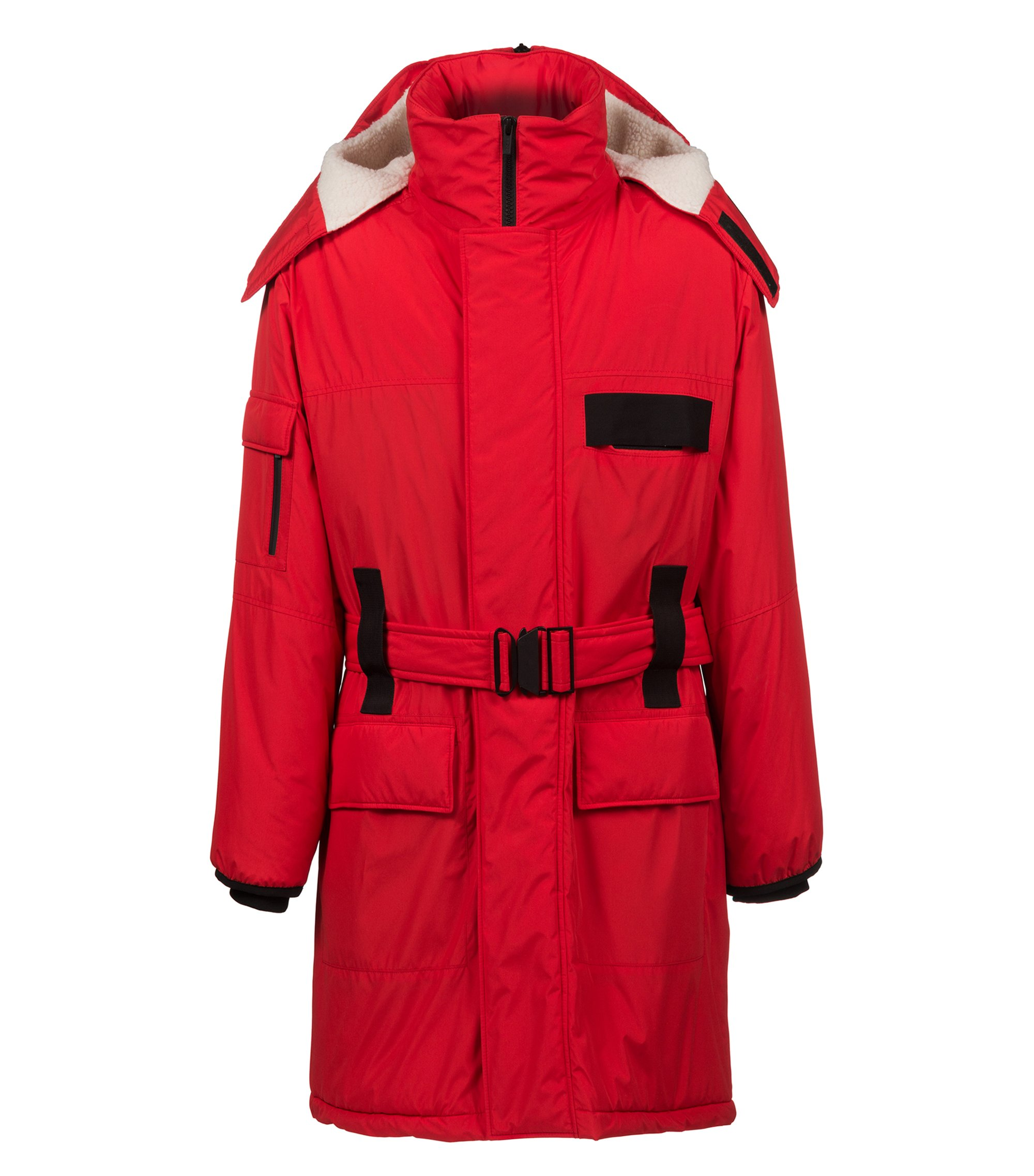 Water-repellent coat with zipped hood and contrast trims, Red