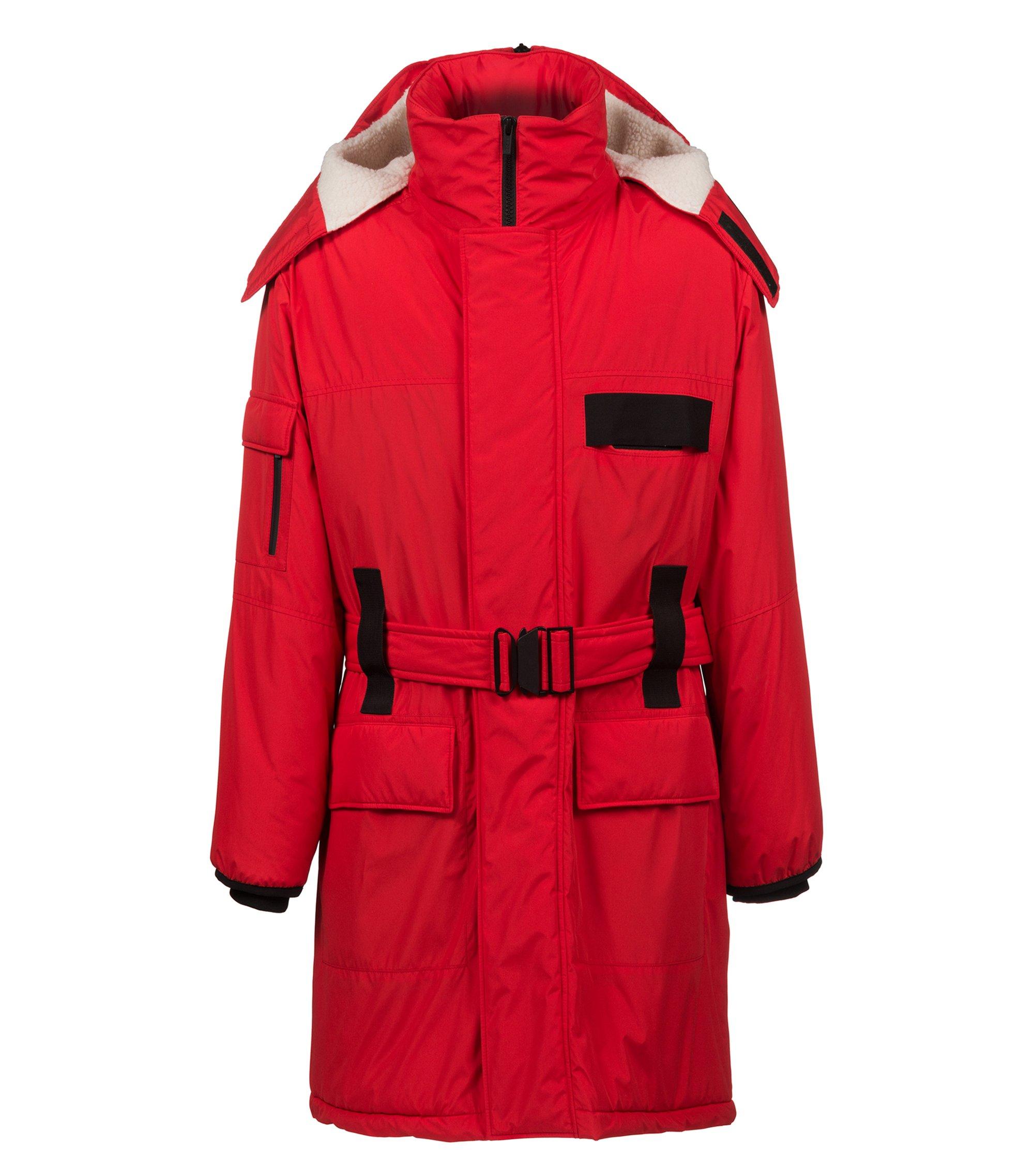 Abrigo repelente al agua con capucha con cremallera y ribetes en contraste, Rojo