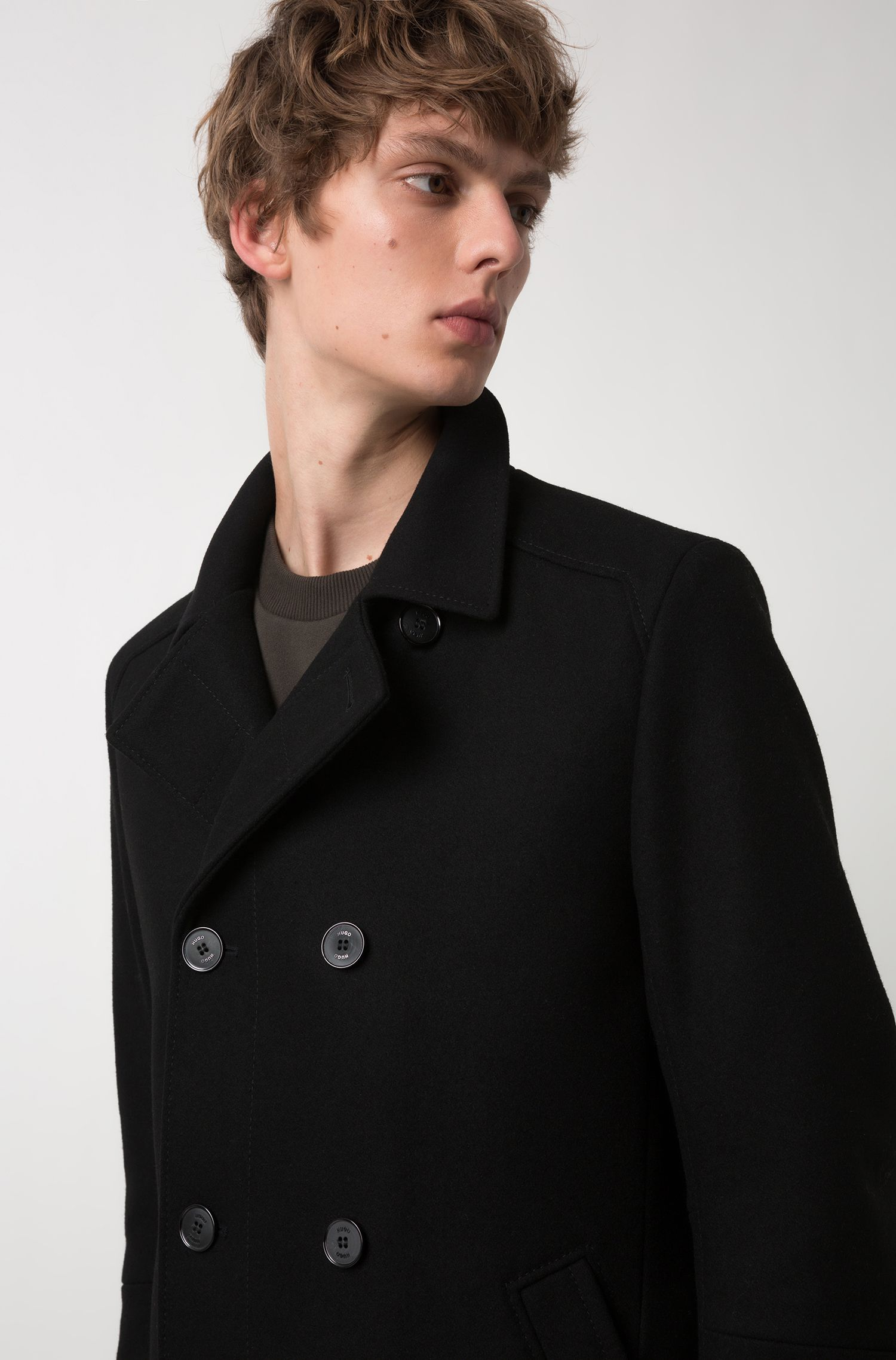 Double-breasted jacket in a virgin-wool blend, Black