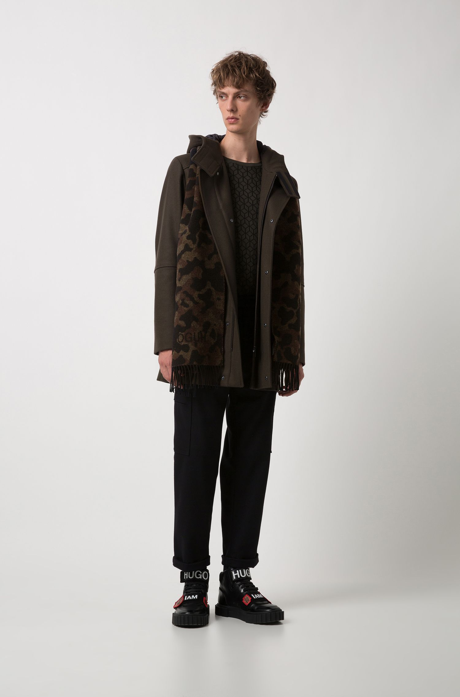 Regular-fit coat with contrast strips and wide placket, Dark Green