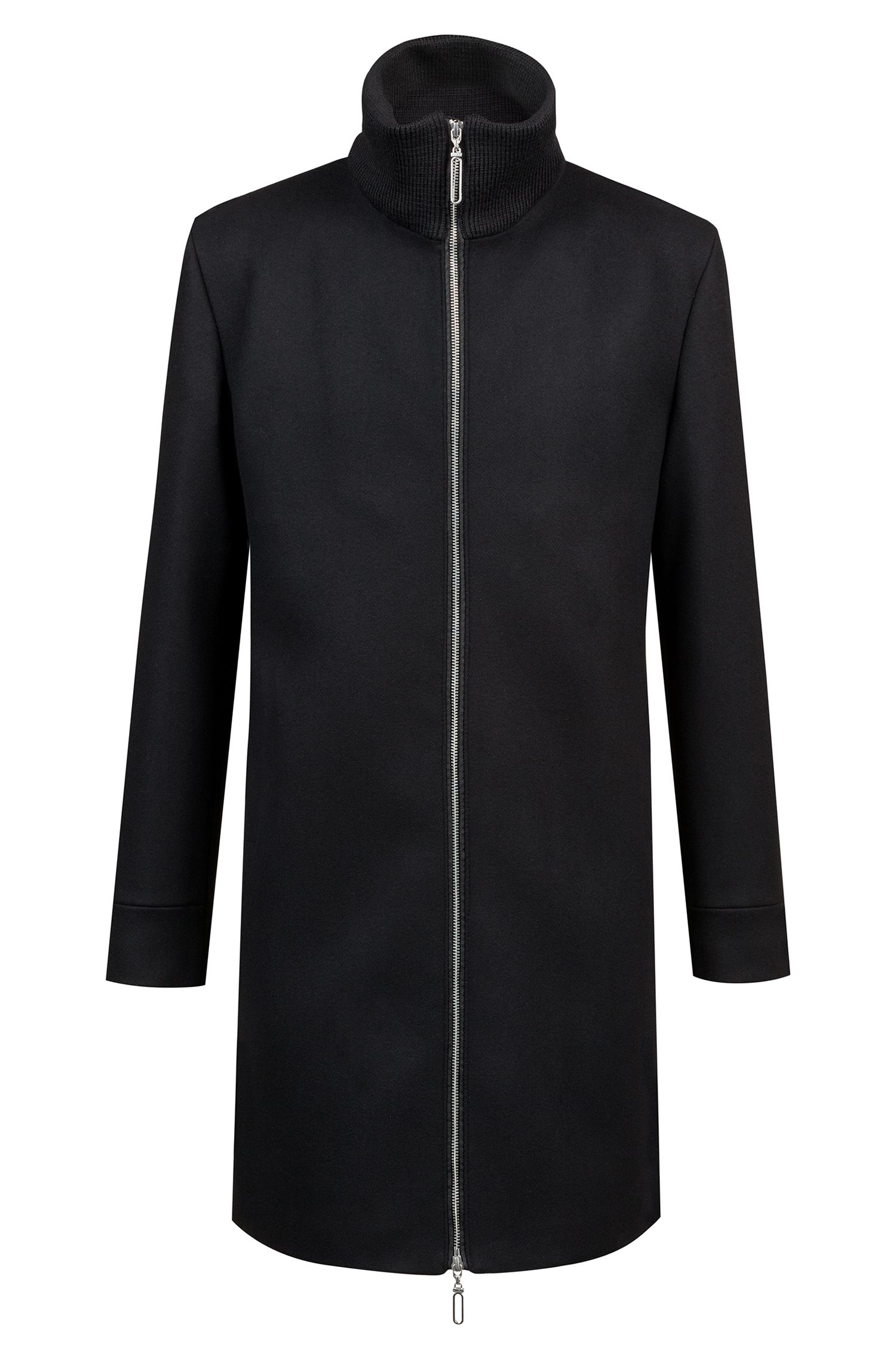 Wool-blend coat with zip-through front, Black