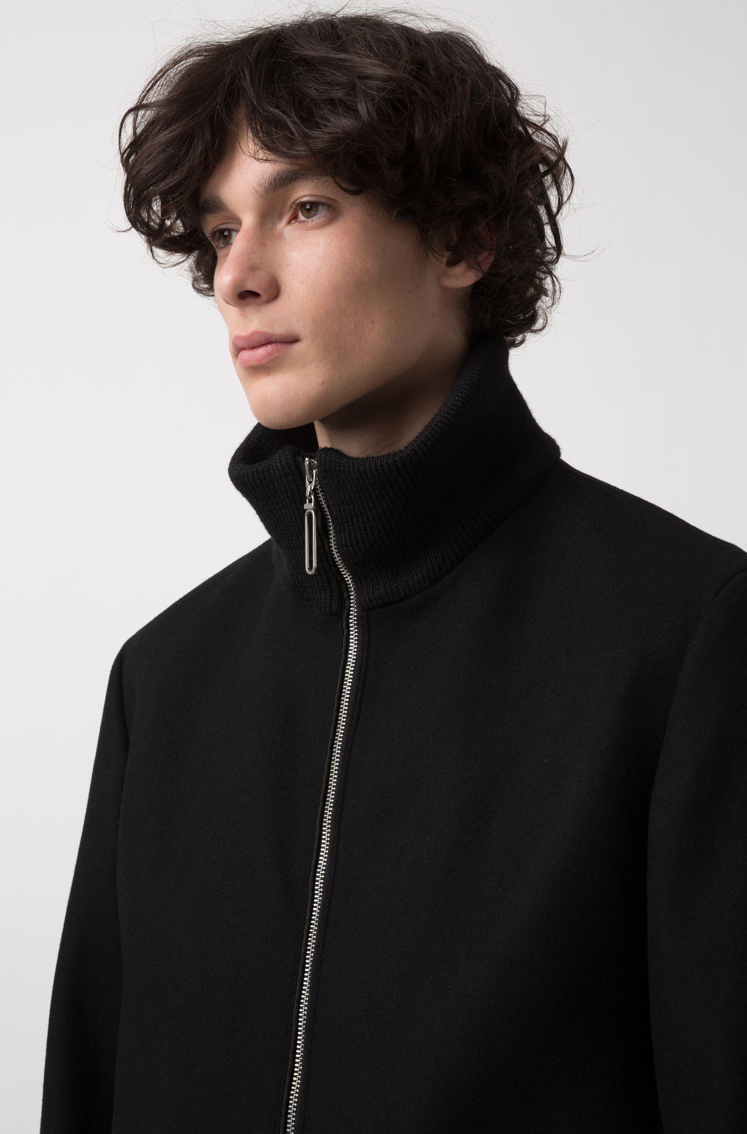 Mantel van een wolmix met rits aan de voorkant, Zwart