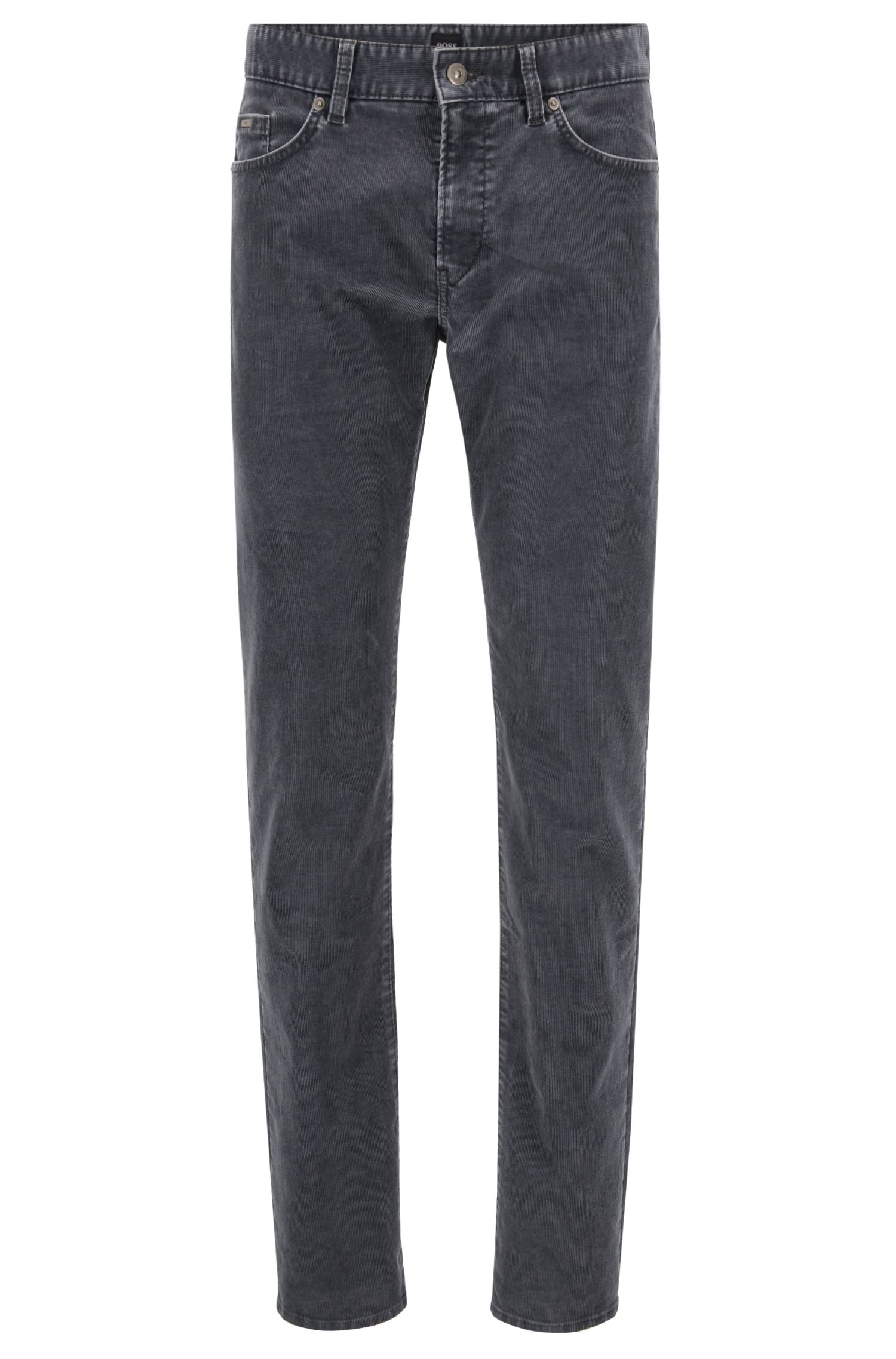 Slim-fit jeans in cotton-blend stretch corduroy, Grey