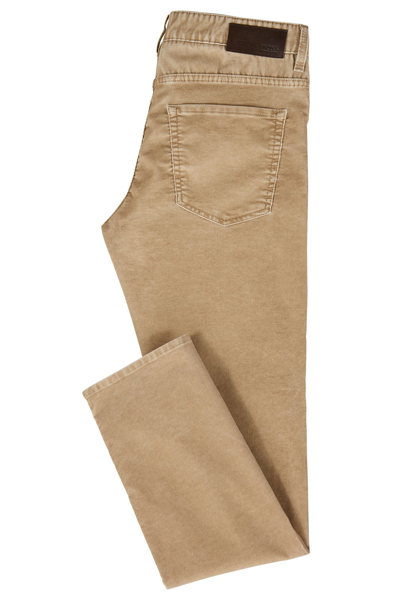 Slim-fit jeans in corduroy van een katoenmix met stretch, Beige