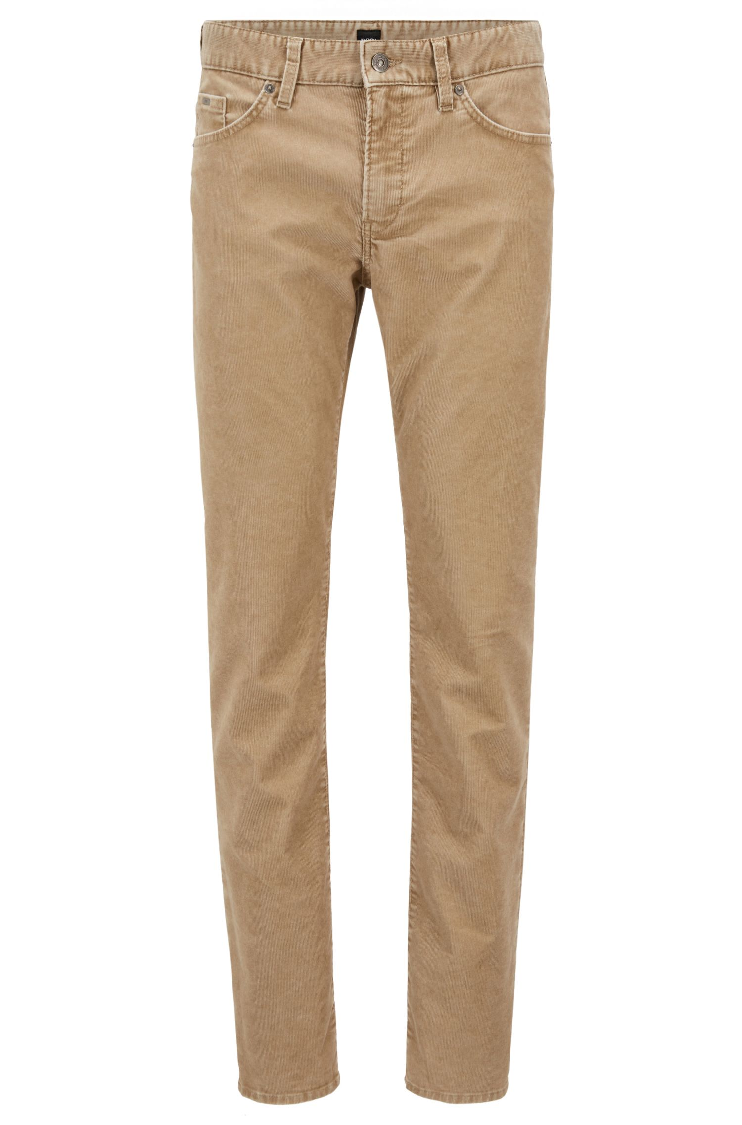 Slim-fit jeans in cotton-blend stretch corduroy, Beige