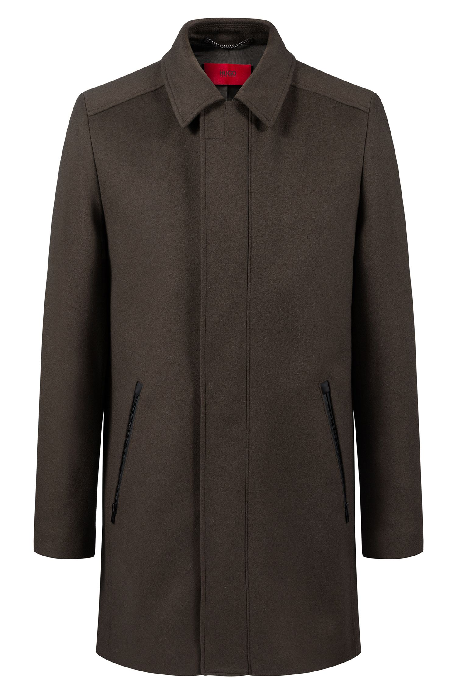 Slim-fit coat in a virgin-wool-cashmere blend, Dark Green