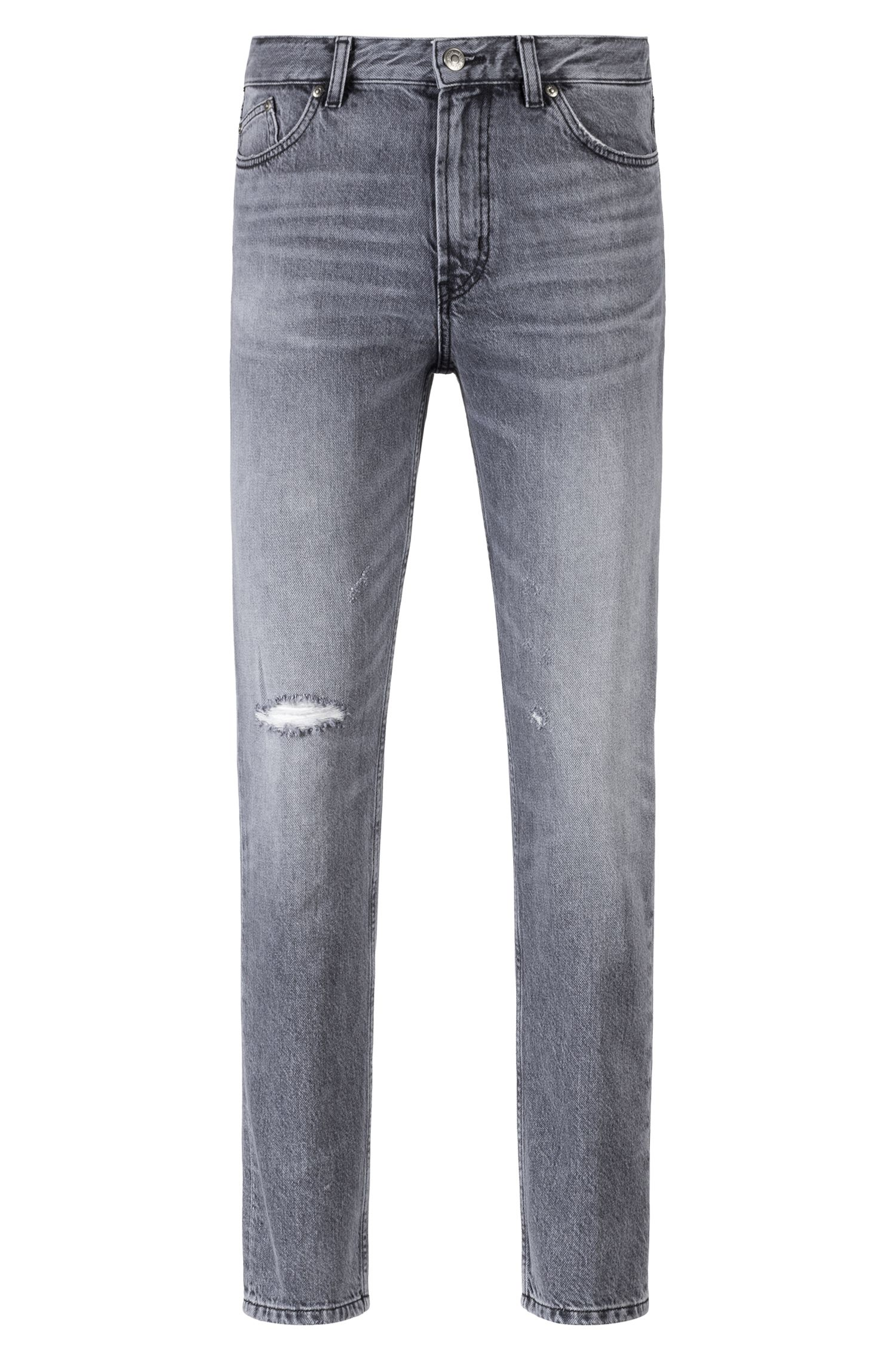 Jean Tapered Fit en denim italien gris, Gris sombre