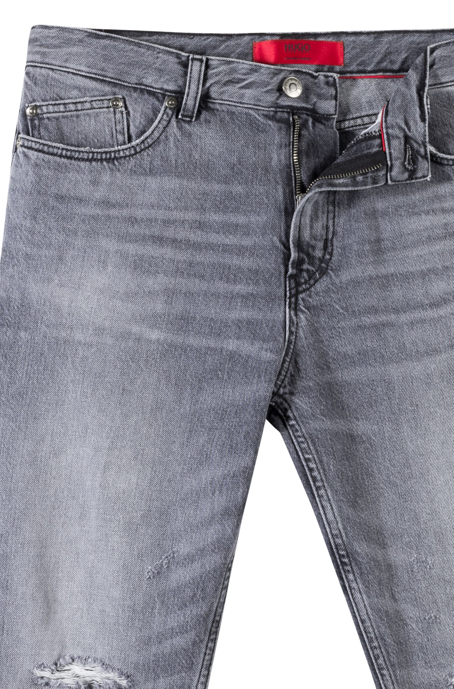 Tapered-fit jeans in grey Italian denim, Dark GreyDark Grey