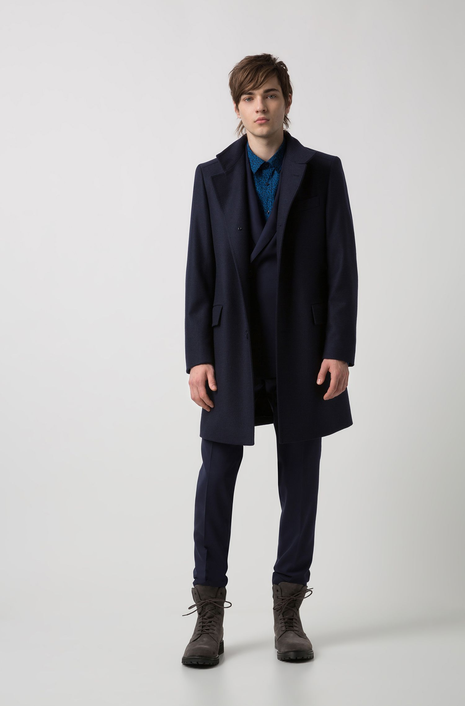 Regular-fit coat in a checked wool blend, Dark Blue