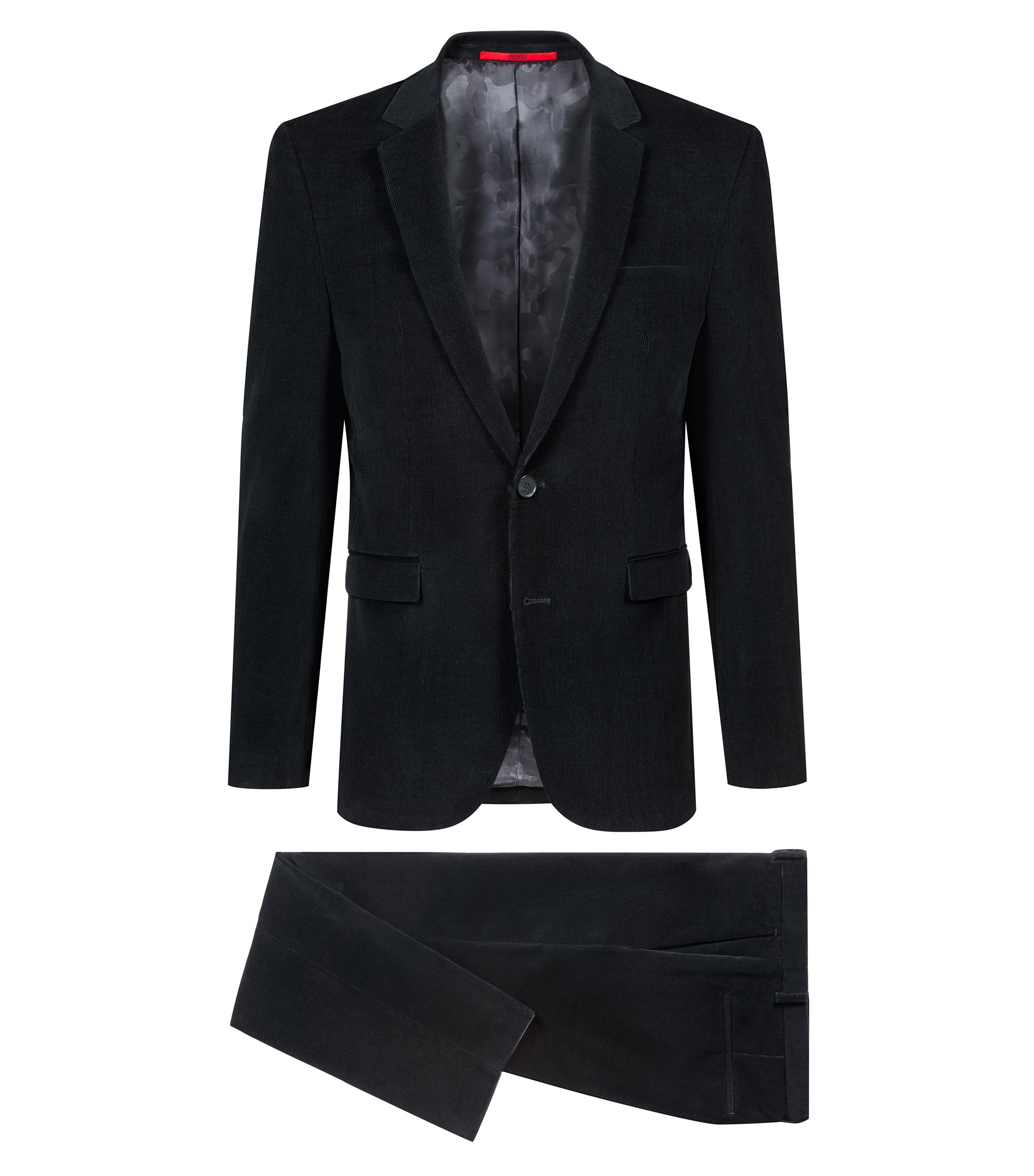 Costume Extra Slim Fit en velours milleraies à teneur en stretch, Noir