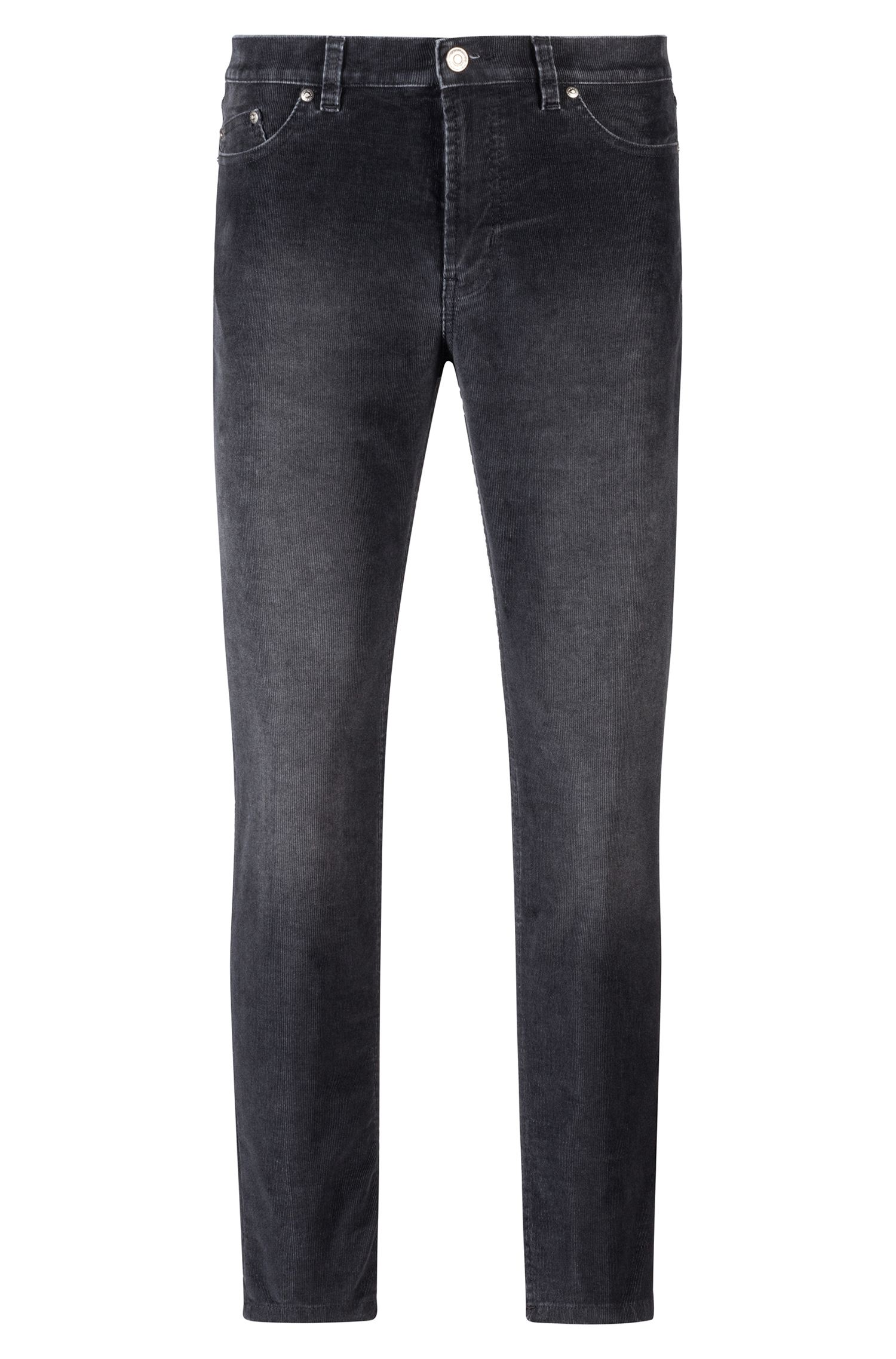 Tapered-Fit Jeans aus fein geripptem Cord, Anthrazit