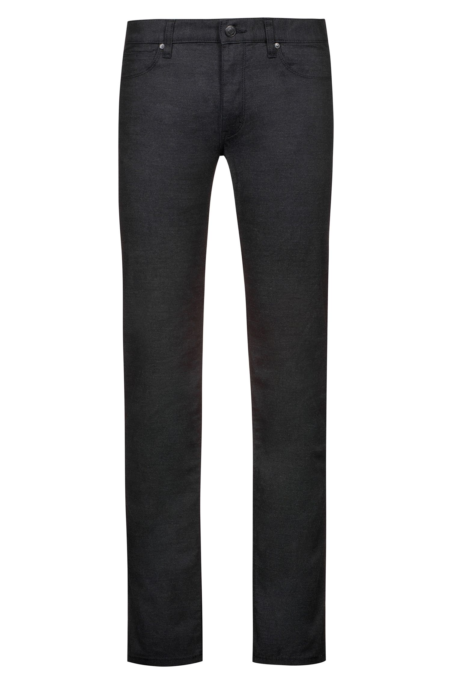Slim-fit stretch-denim jeans with reverse-logo patch, Black
