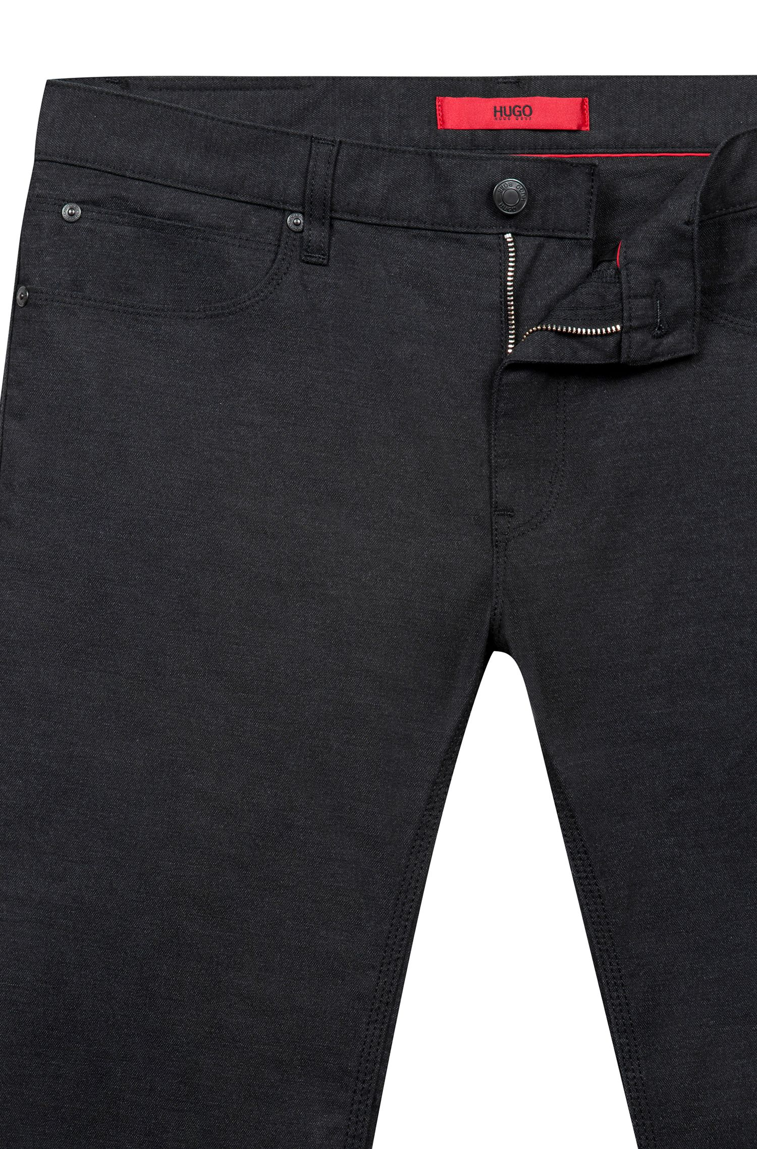 Jean Slim Fit en denim stretch avec patch logo inversé, Noir