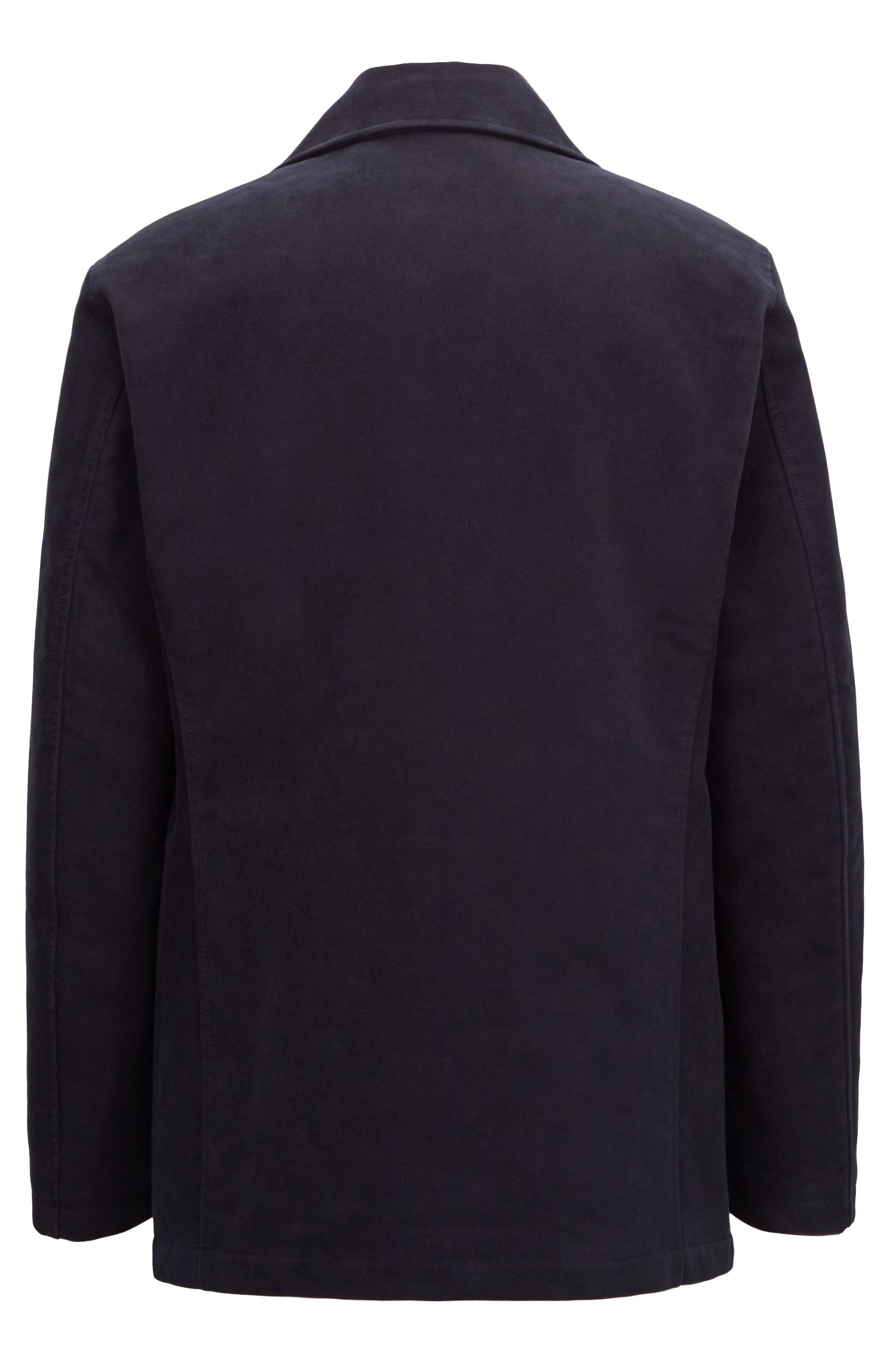 Pea coat in cotton moleskin with quilted lining, Dark Blue
